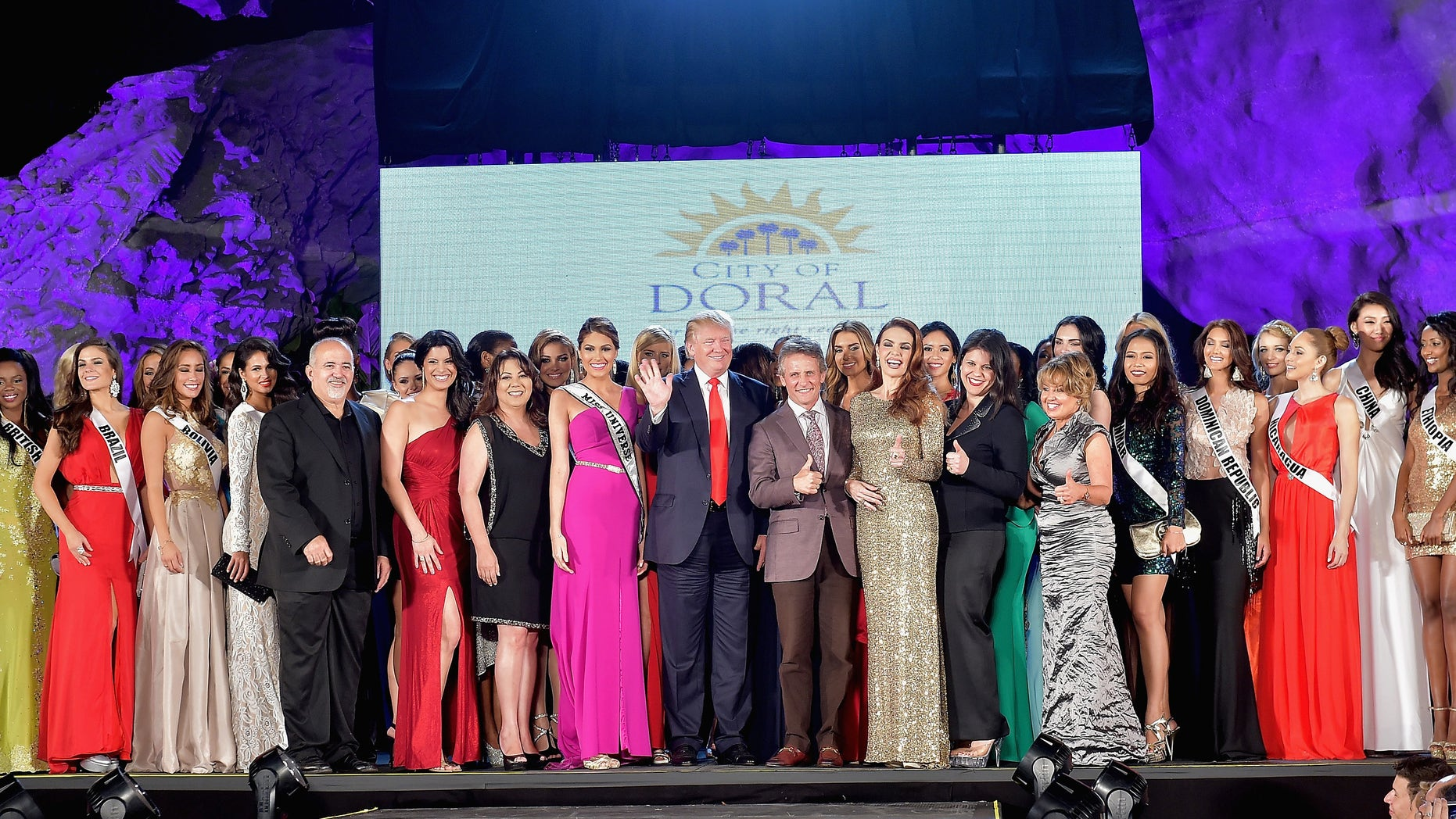 DORAL, FL - JANUARY 09:  Donald Trump attends Miss Universe Welcome Event and Reception at Downtown Doral Park on January 9, 2015 in Doral, Florida.  (Photo by Gustavo Caballero/Getty Images)
