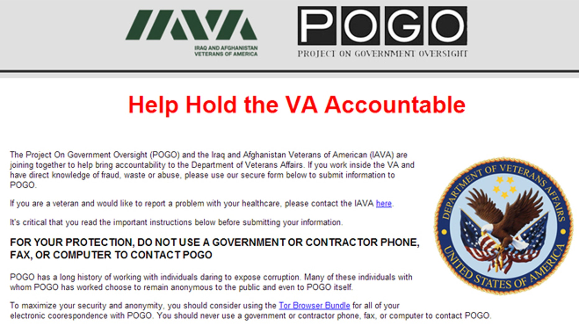 "The joint effort by the Iraq and Afghanistan Veterans of America (IAVA) and the Project on Government Oversight (POGO) aims to ""bring accountability"" to the department by allowing whistleblowers to expose corruption anonymously."