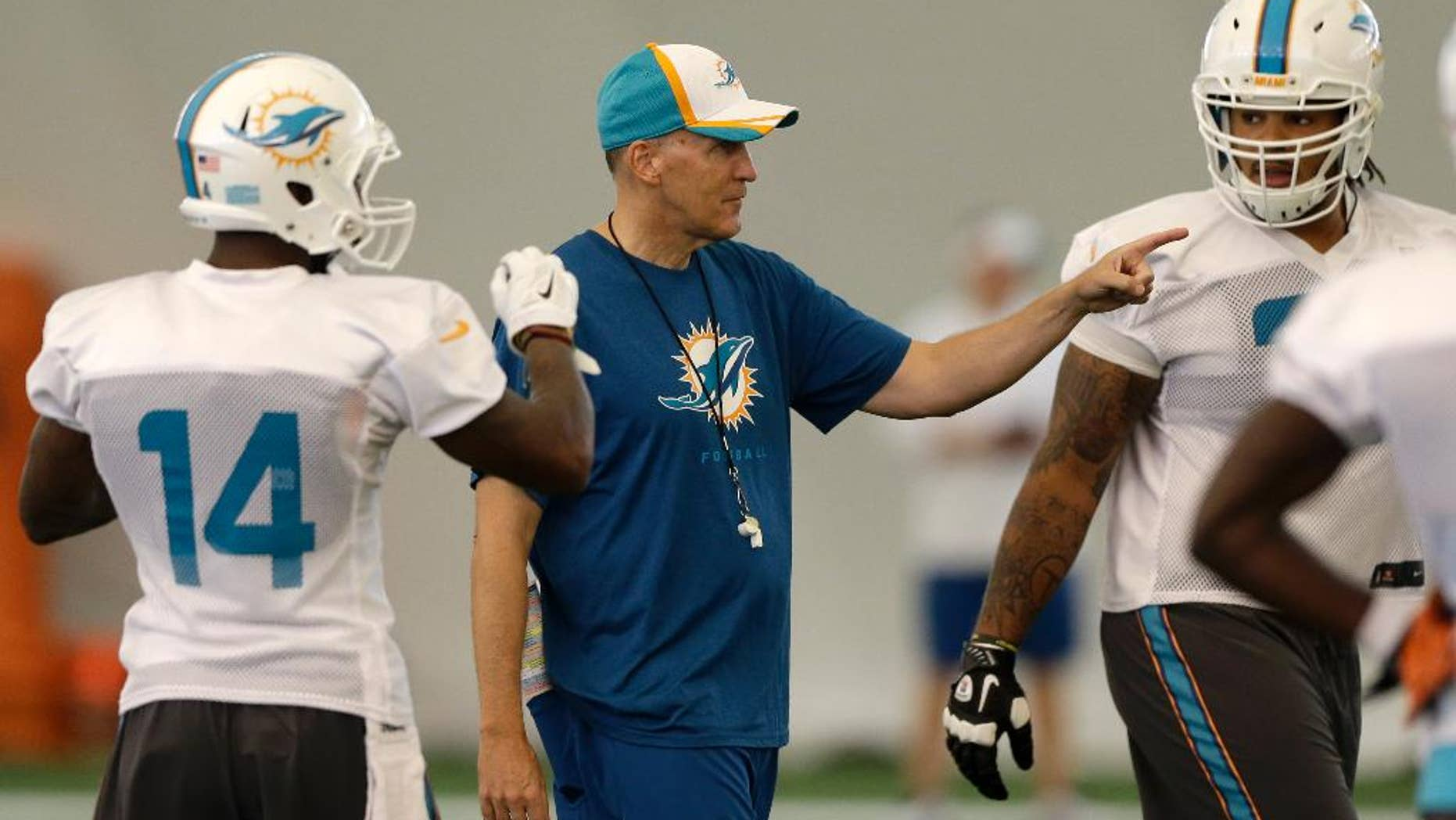 Miami Dolphins head coach Joe Philbin gestures during NFL football training camp in Davie, Fla., Wednesday, July 30, 2014. (AP Photo/Alan Diaz)