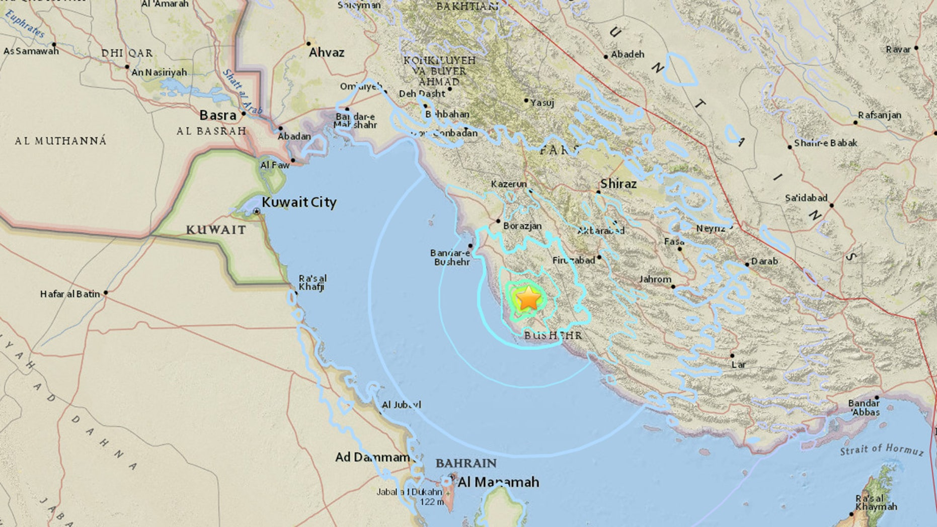 The U.S. Geological Survey said the magnitude 5.5 earthquake struck about 60 miles east of Bushehr.