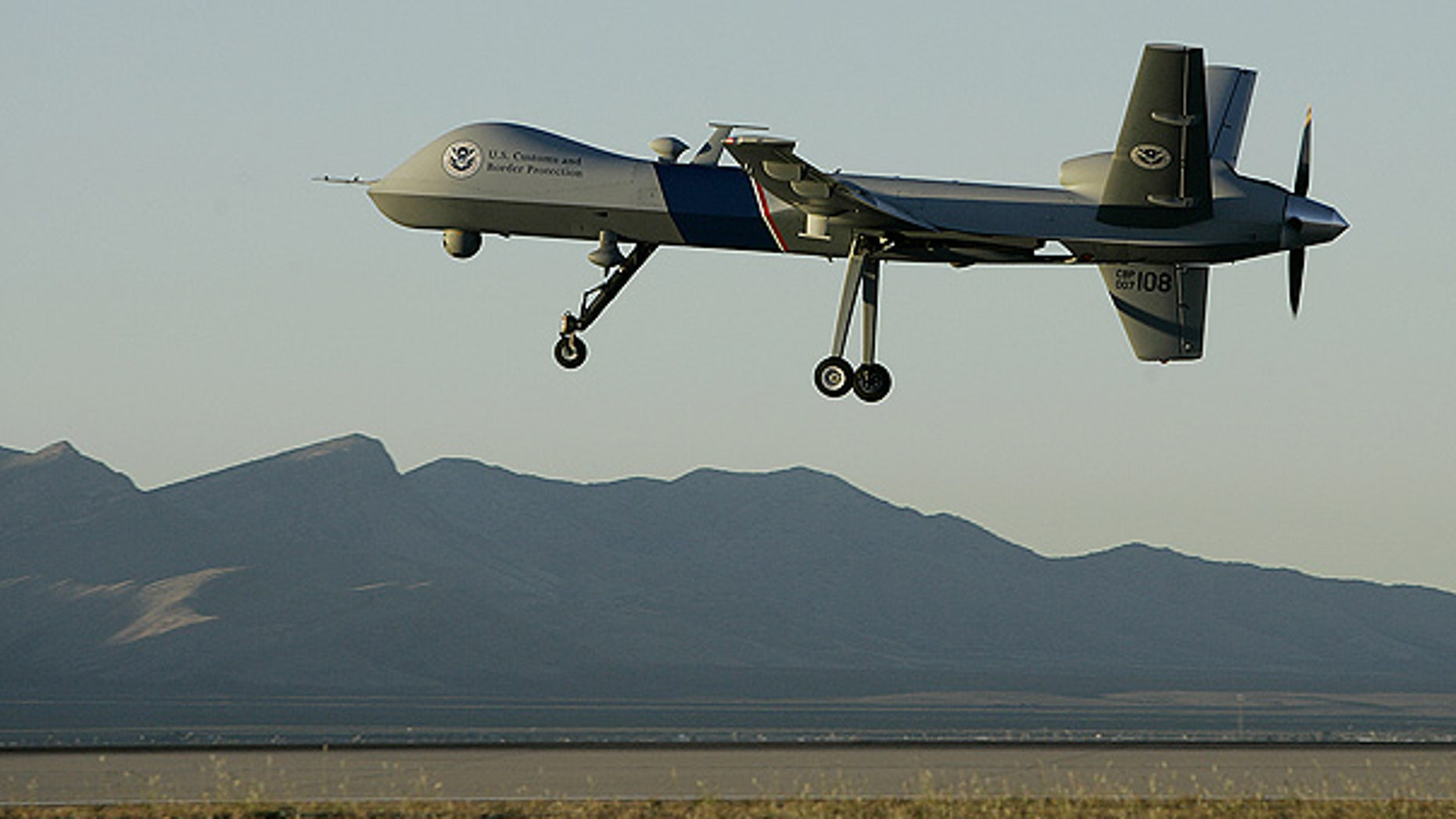 A Predator drone takes off on a U.S. Customs Border Patrol mission from Fort Huachuca, Ariz.