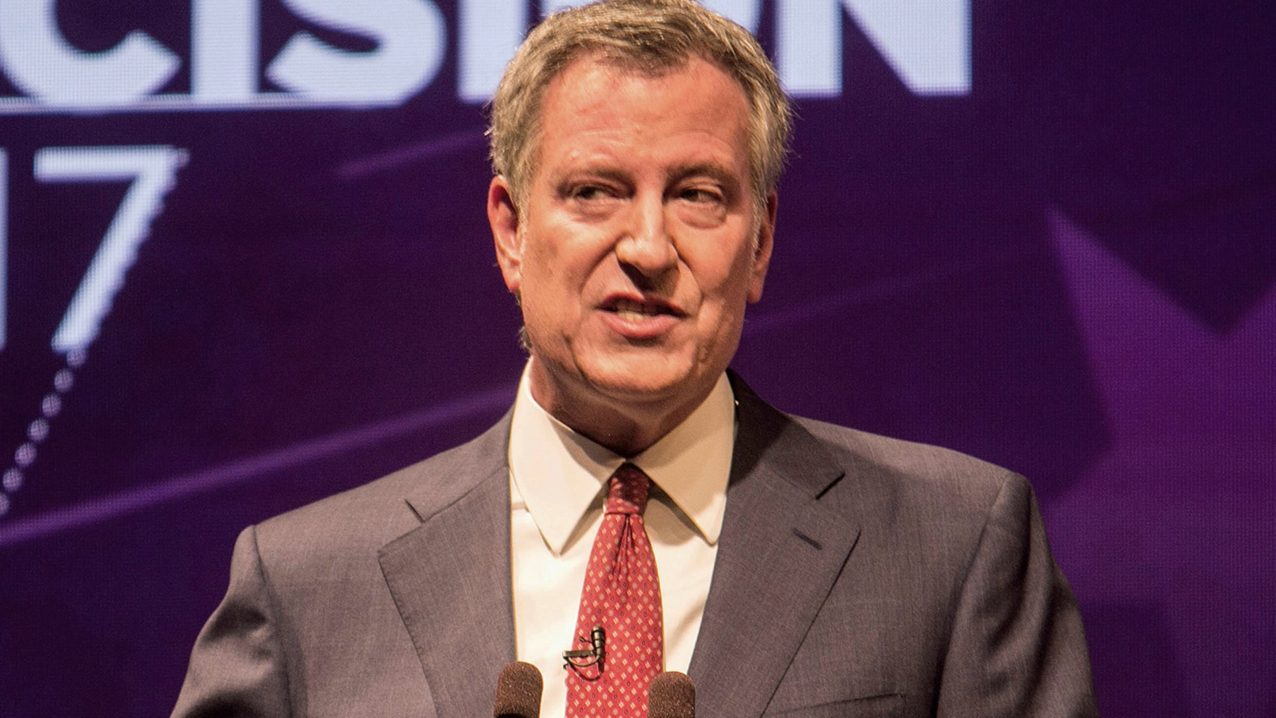 Aug. 23: New York City Mayor Bill de Blasio participates in the first debate for the Democratic mayoral primary in New York