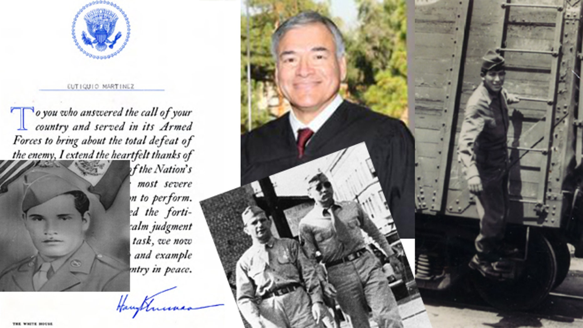 Judge Frederick Aguirre (center) surrounded by, clockwise from right, his uncle Richard Aguirre as a P.F.C.; his father Alfred Aguirre with Ruben Abraham in 1945; his father-in-law, Eutiquio Martínez, along with a letter to Martínez from the White House and signed by Harry S. Truman. (Photos: Courtesy Orange County Hispanic Bar Association, American Patriots of Latino Heritage)
