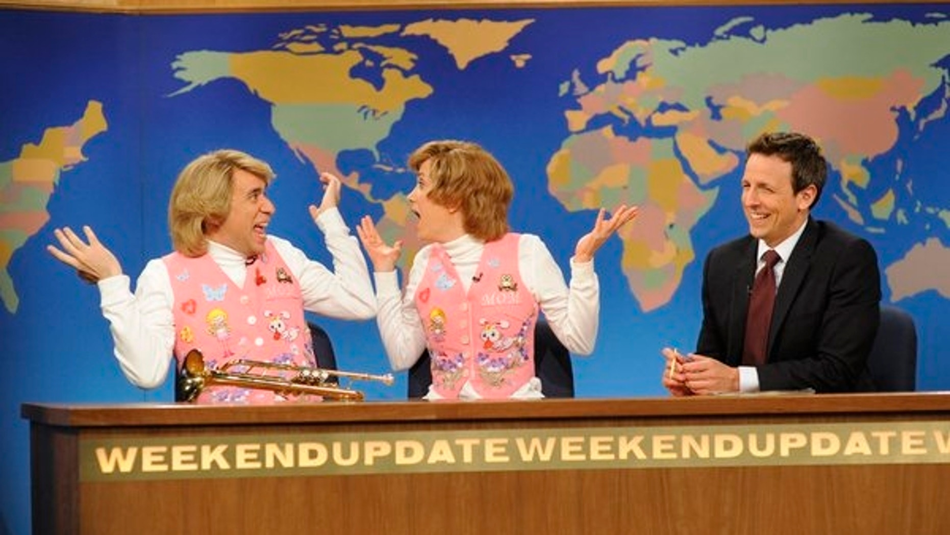 "Fred Armisen, Kirsten Wiig, Seth Meyers on ""Saturday Night Live."""