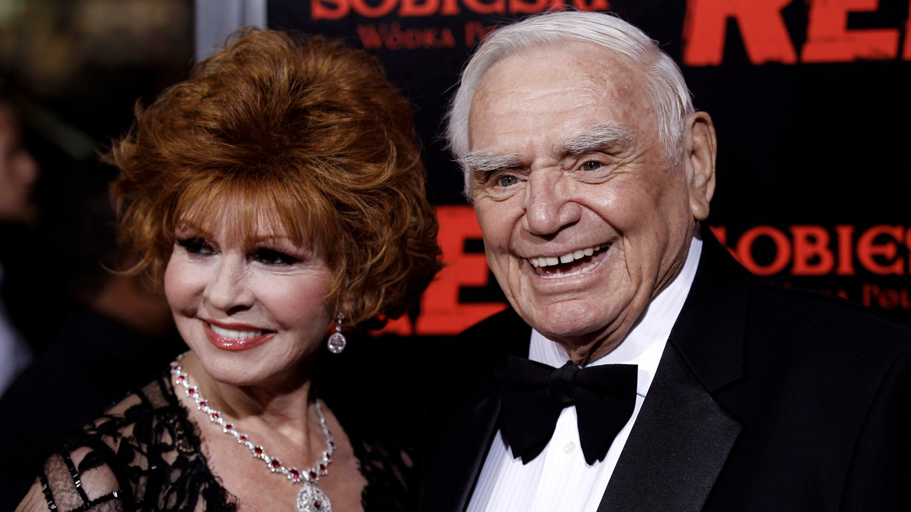 """Oct. 11, 2010: Cast member Ernest Borgnine, right, and his wife, Tova, arrive at a special screening of the film """"Red"""" in Los Angeles."""