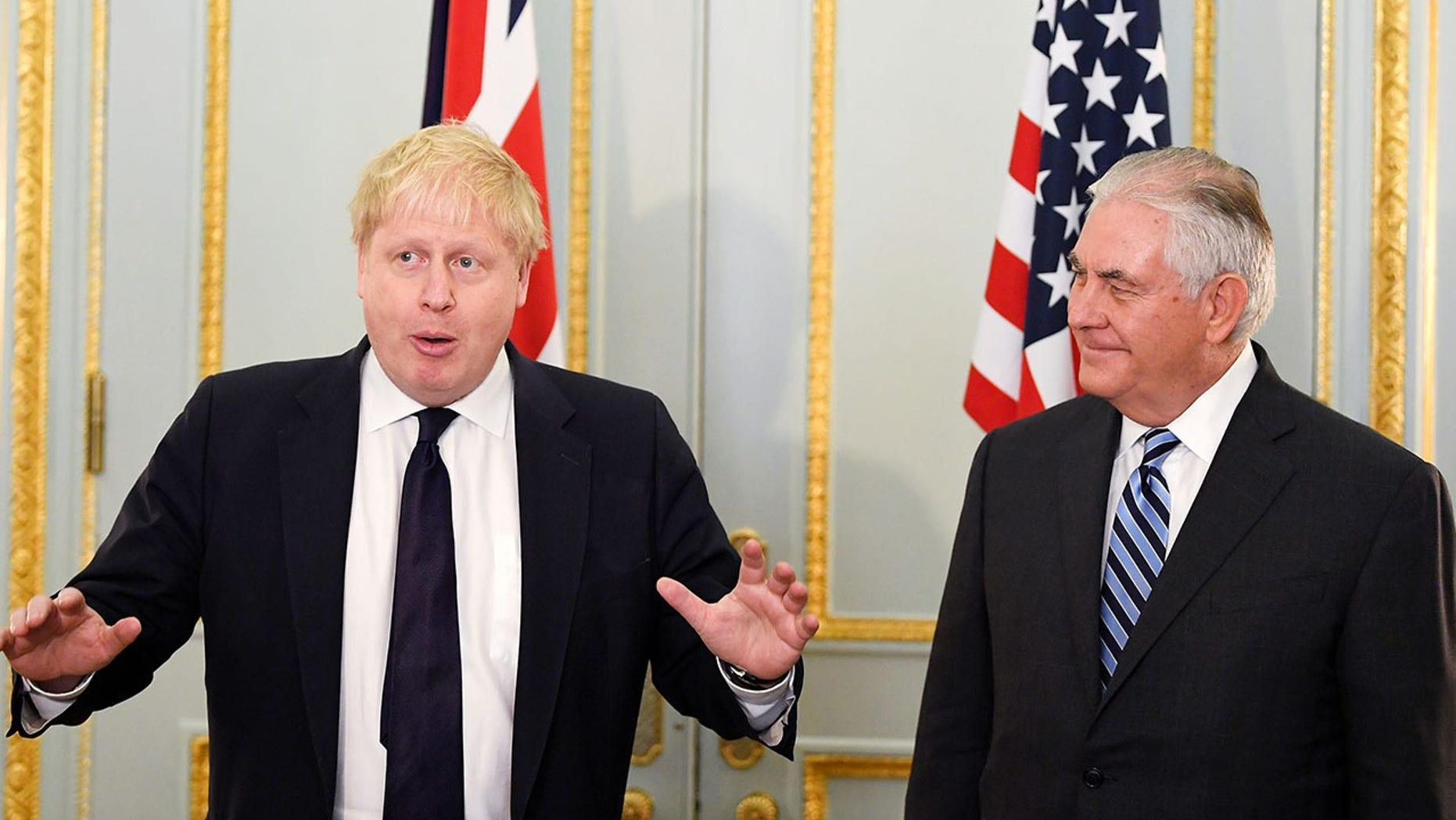 U.K. Foreign Secretary Boris Johnson greeted U.S. Secretary of State Rex Tillerson this week.