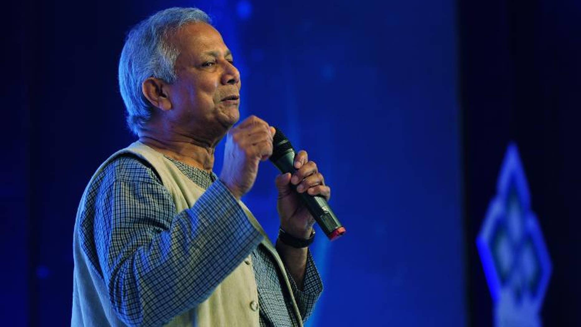 Nobel Laureate Professor Muhammad Yunus speaks during the 4th Annual Social Business Day in Dhaka on June 28, 2013