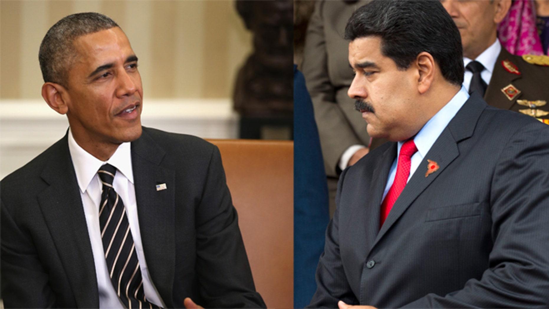 A photo composite of U.S. President Barack Obama (L) and Venezuelan President Nicolás Maduro.