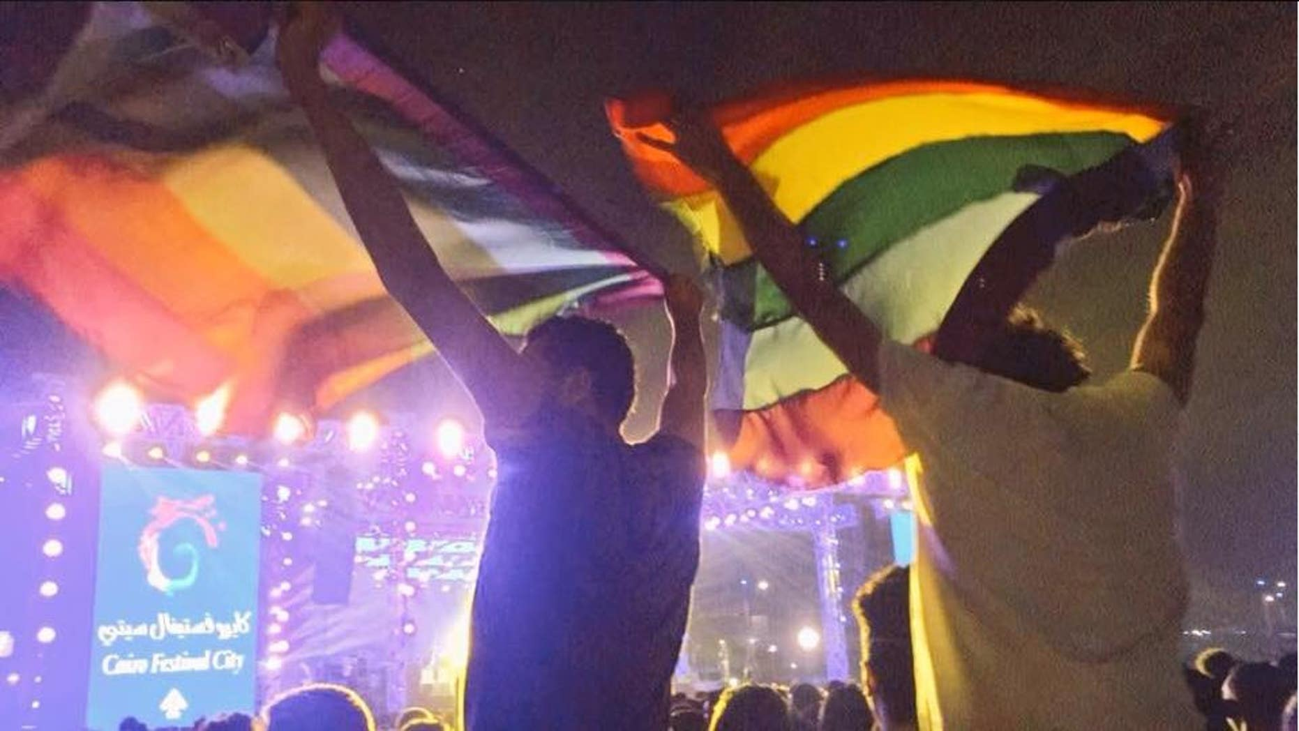 Seven people were arrested at a concert in Egypt for displaying a rainbow flag.