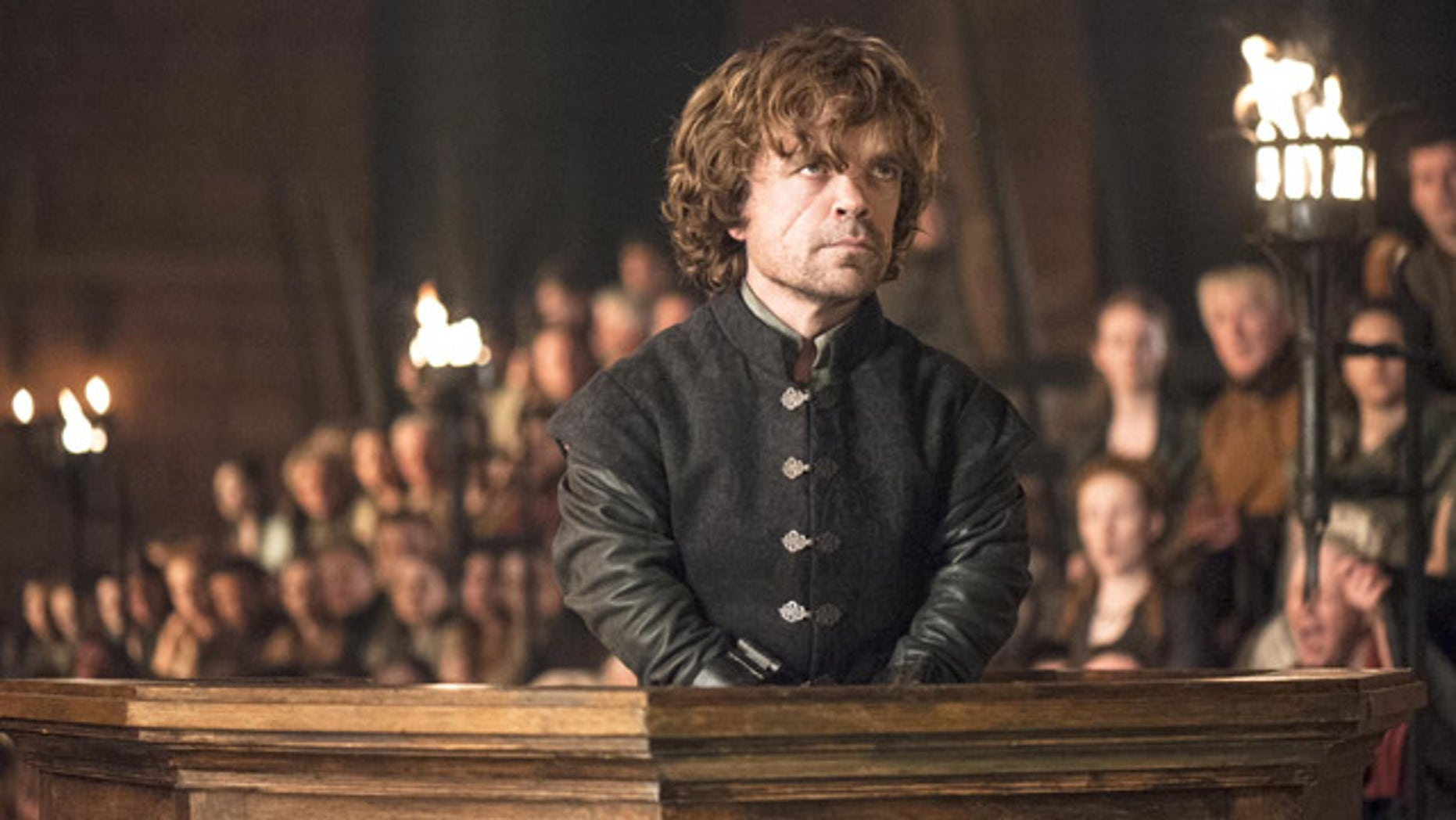 Tyrion Lannister (Peter Dinklage) in the dock on 'Game of Thrones' (Courtesy HBO)