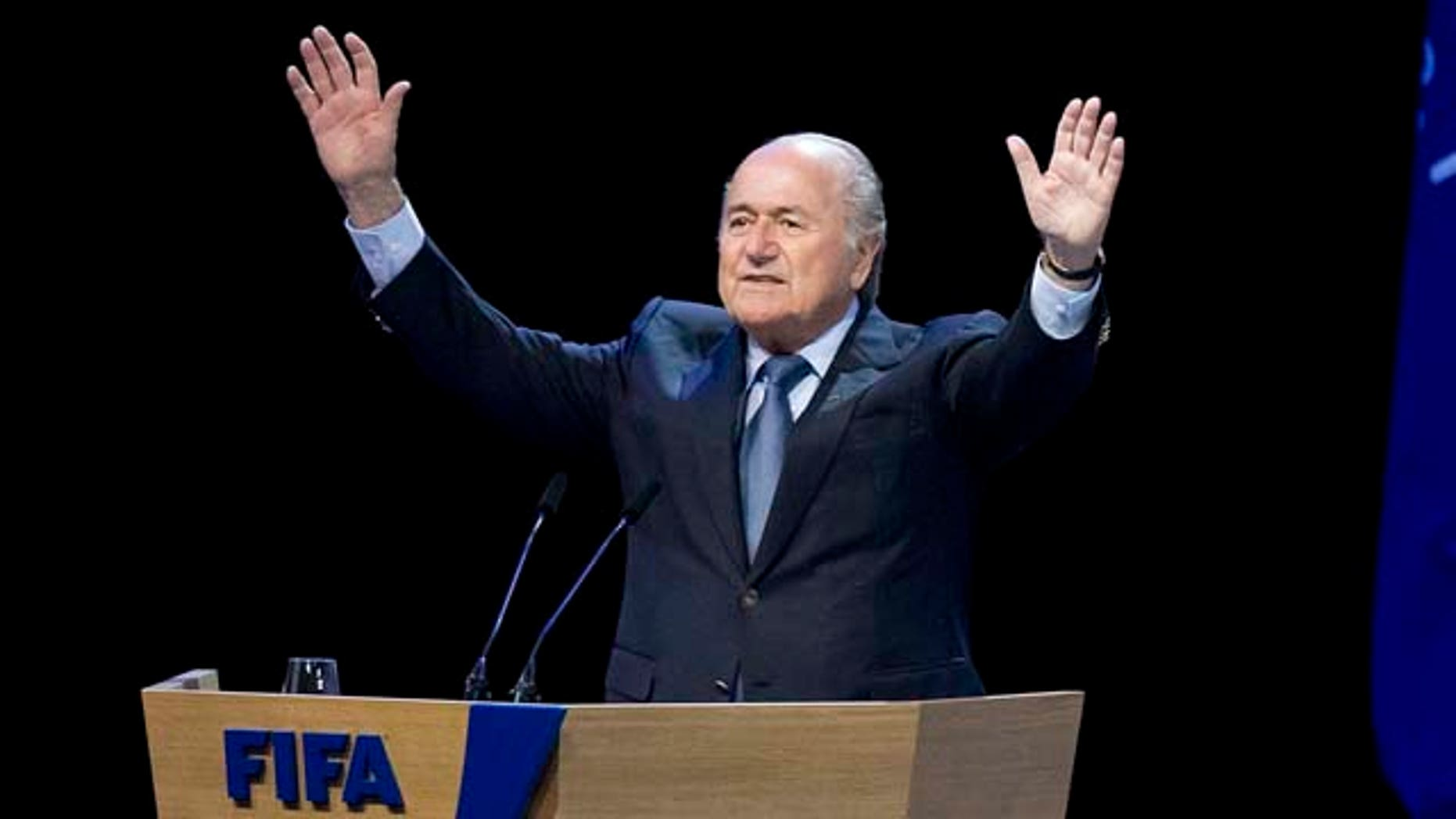 FIFA President Joseph Blatter reacts after he was re-elected FIFA president  in Zurich, Switzerland, Wednesday, June 1, 2011. Blatter was re-elected  after a major bribery scandal left him as the only candidate to deal with a sport reeling from a wave of corruption allegations.  Blatter, a 75-year-old Swiss executive who has been in office since 1998, was handed a final four-year term as head of football's governing body in a vote at FIFA's congress. (AP Photo / Keystone, Alessandro Della Bella) GERMANY OUT - AUSTRIA OUT