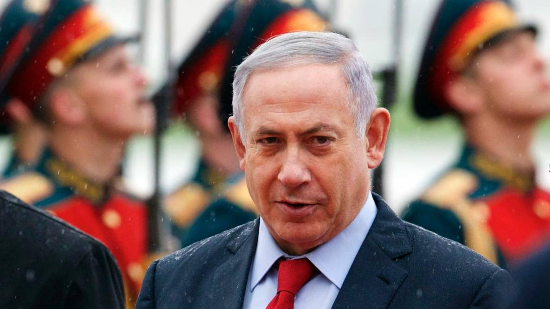 Israeli Prime Minister Benjamin Netanyahu reviews an honour guards shortly upon his arrival to government Vnukovo II airport just outside Moscow, Russia, on Monday, June 6, 2016. Netanyahu is on official visit to Russia. (AP Photo/Ivan Sekretarev)