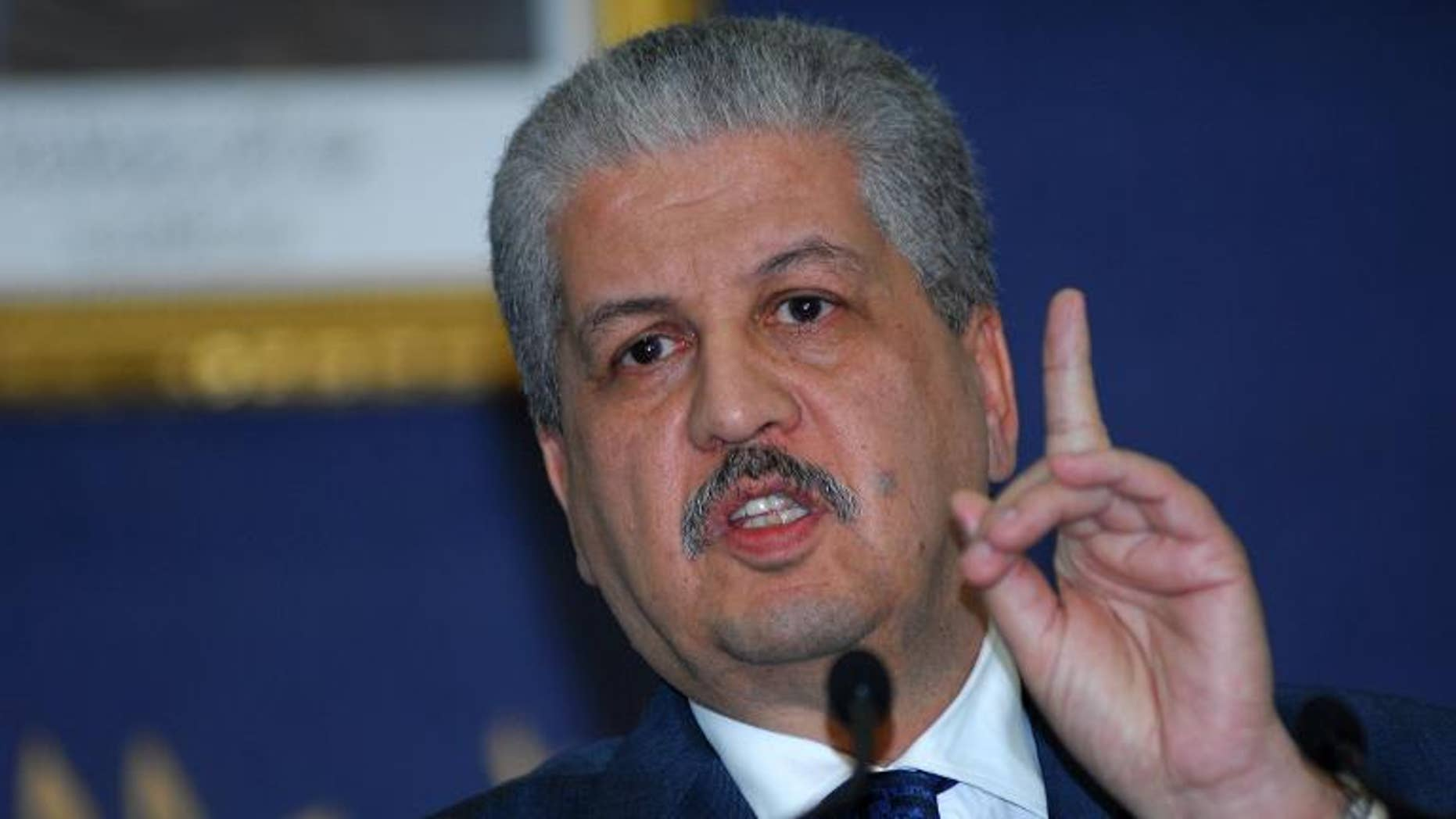 Algerian Prime Minister Abdelmalek Sellal speaks during a press conference in Algiers on January 21, 2012.