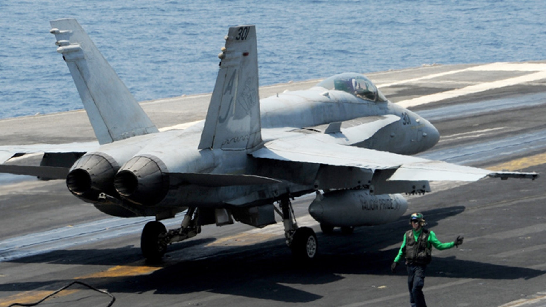 The two F/A-18C Hornets have not been recovered, Navy officials say. (Courtesy: US Navy)