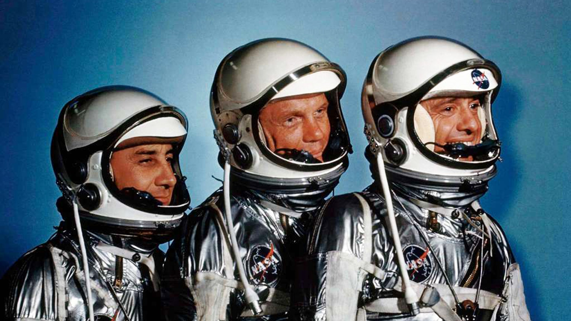 """This May 1961 file photo shows astronauts, from left, Virgil I. Grissom, John Glenn and Alan Shepard. A new exhibit, """"Heroes and Legends"""" is now at the Kennedy Space Center in Florida."""