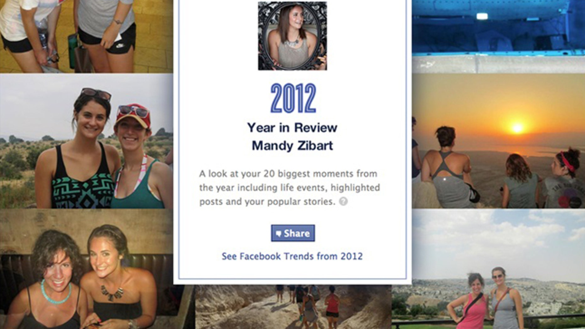 By going to Facebook.com/yearinreview, you can see the 20 biggest moments from your own year, including life events, highlighted posts and your most popular stories.