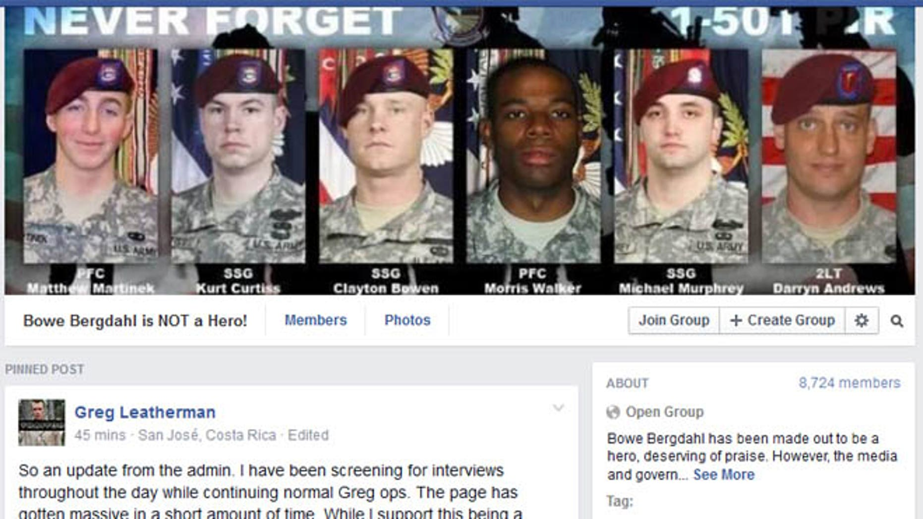 Shown here is a Facebook page with the faces of six soldiers who died in Afghanistan, some say during the search for Sgt. Bowe Bergdahl.