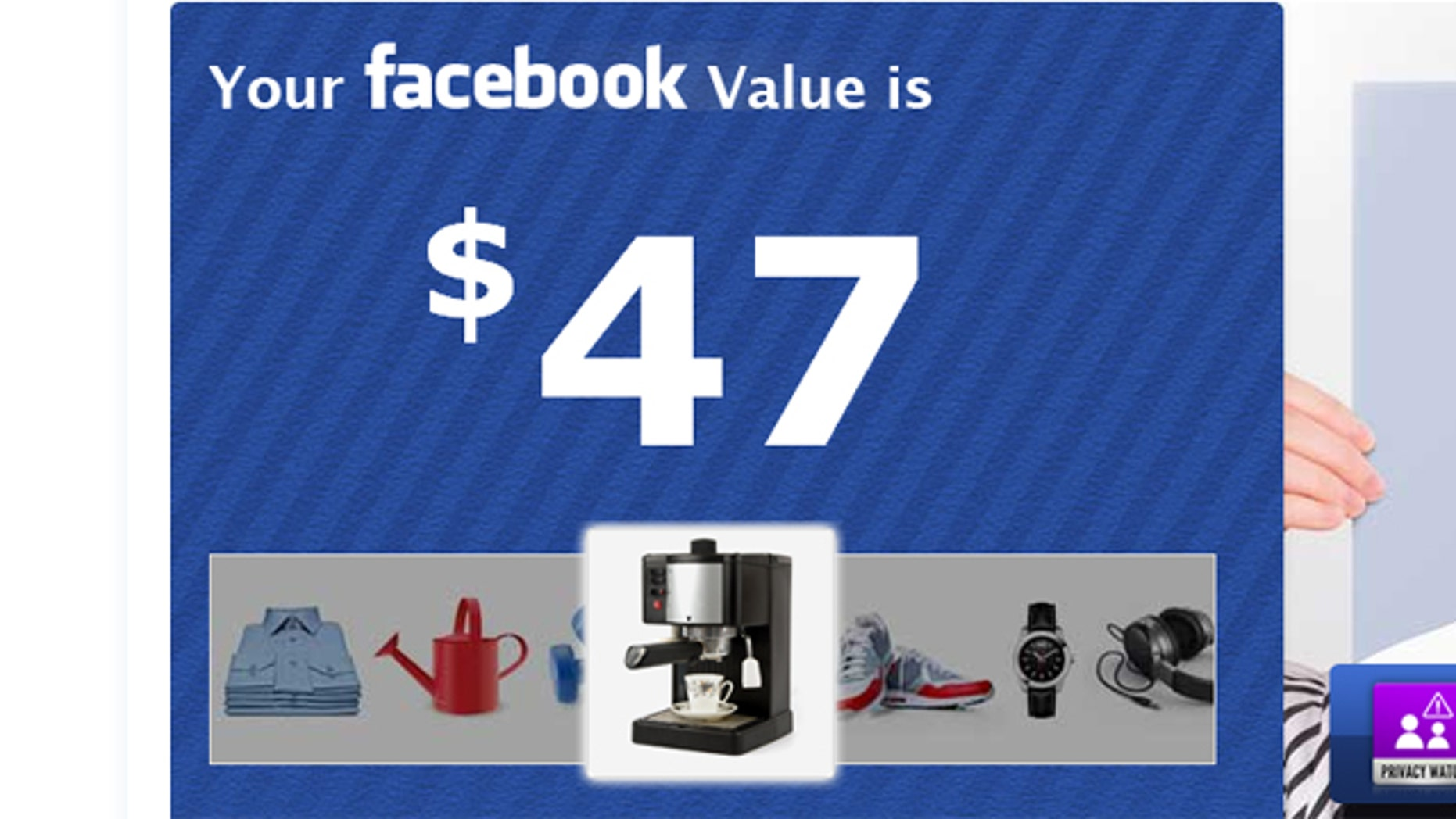 Your worth to Facebook? Roughly an espresso machine.
