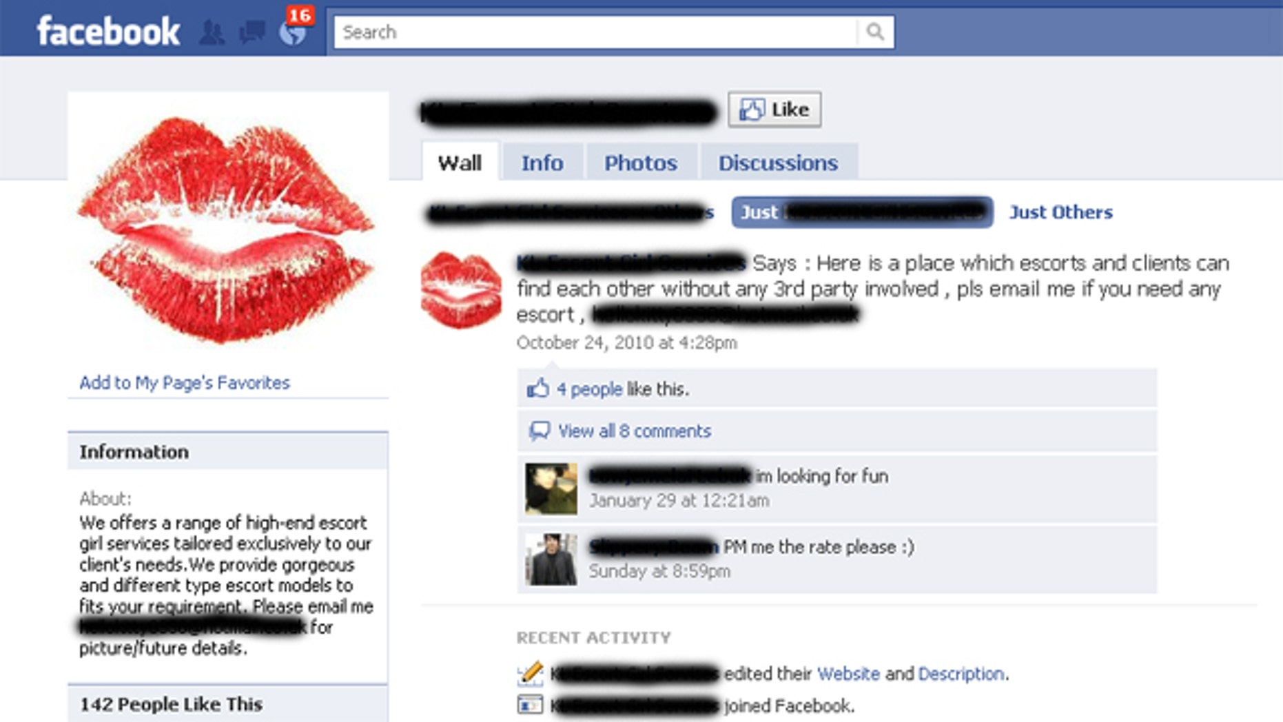 Facebook is becoming a hotspot for illicit adult entertainment.