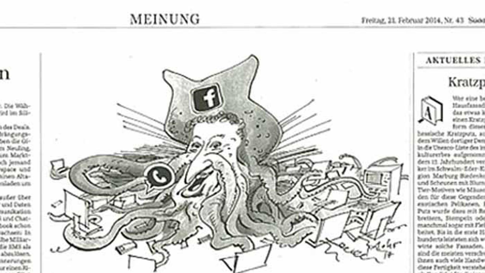 This cartoon, in the German newspaper Süddeutsche Zeitung, depicts Facebook founder Mark Zuckerberg in a manner deemed anti-semitic by critics.