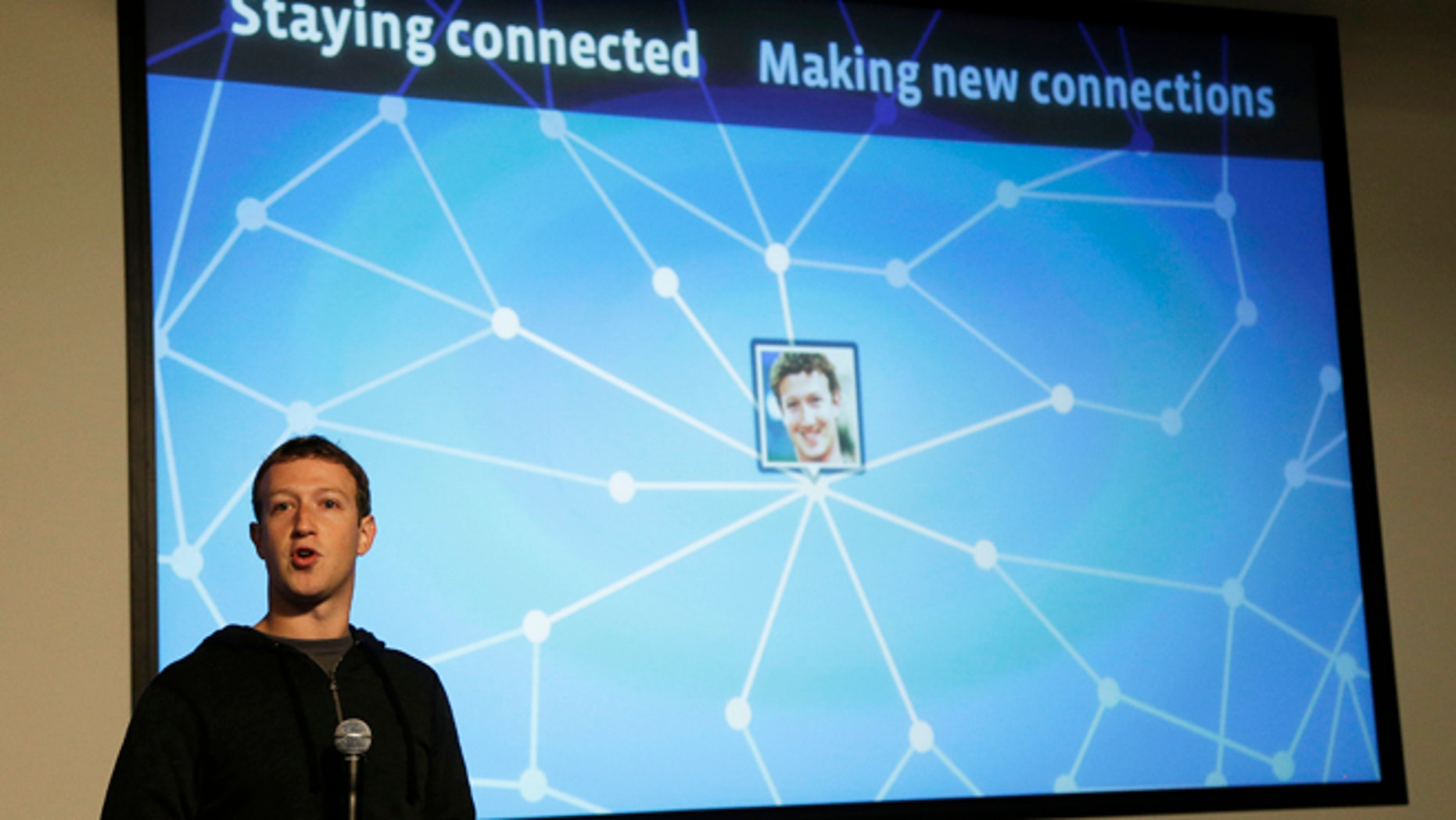 FILE: Jan. 15, 2013: Facebook CEO Mark Zuckerberg speaks about Facebook Graph Search at a Facebook headquarters in Menlo Park, Calif.