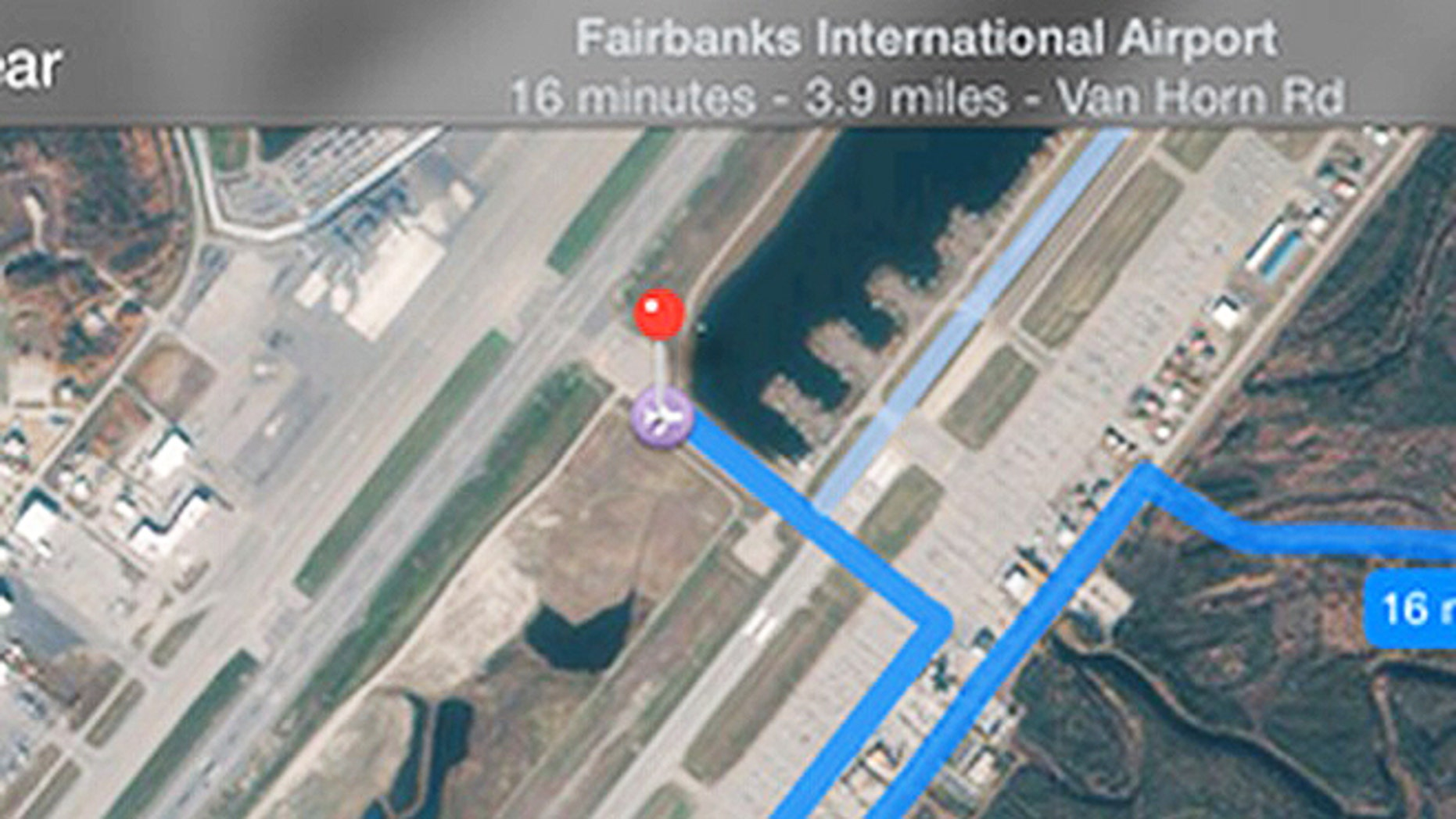 A glitch in the Apple Maps app guides people up to a runway at a major Alaska airport instead of sending them on the proper route to the terminal, an airport official said.
