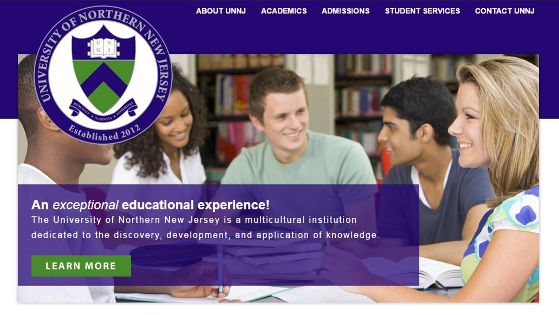 A screenshot from the University of Northern New Jersey's website.