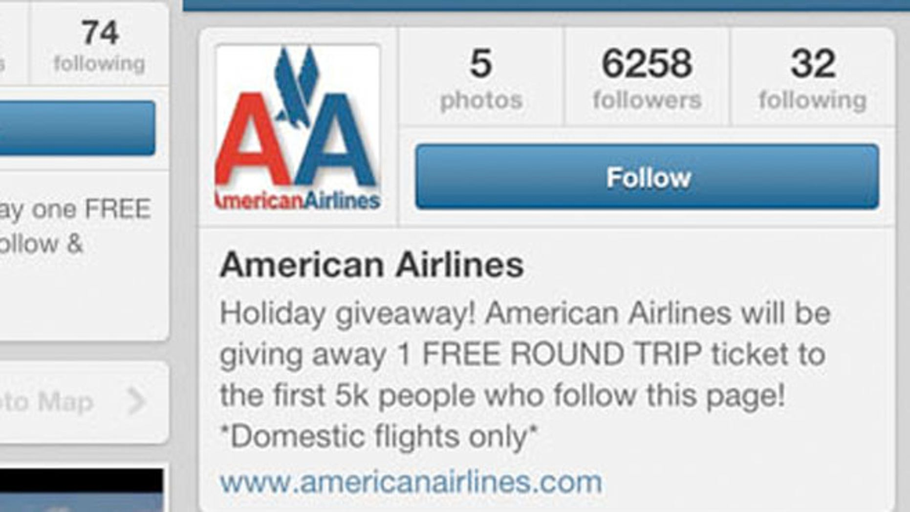 This fake American Airlines Instagram site had over 6,000 followers after it promised a free round-trip flight to the first 5,000 followers.