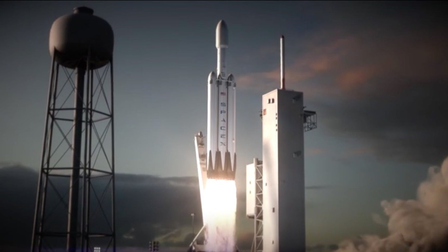 Artist's illustration of a SpaceX Falcon Heavy rocket lifting off.