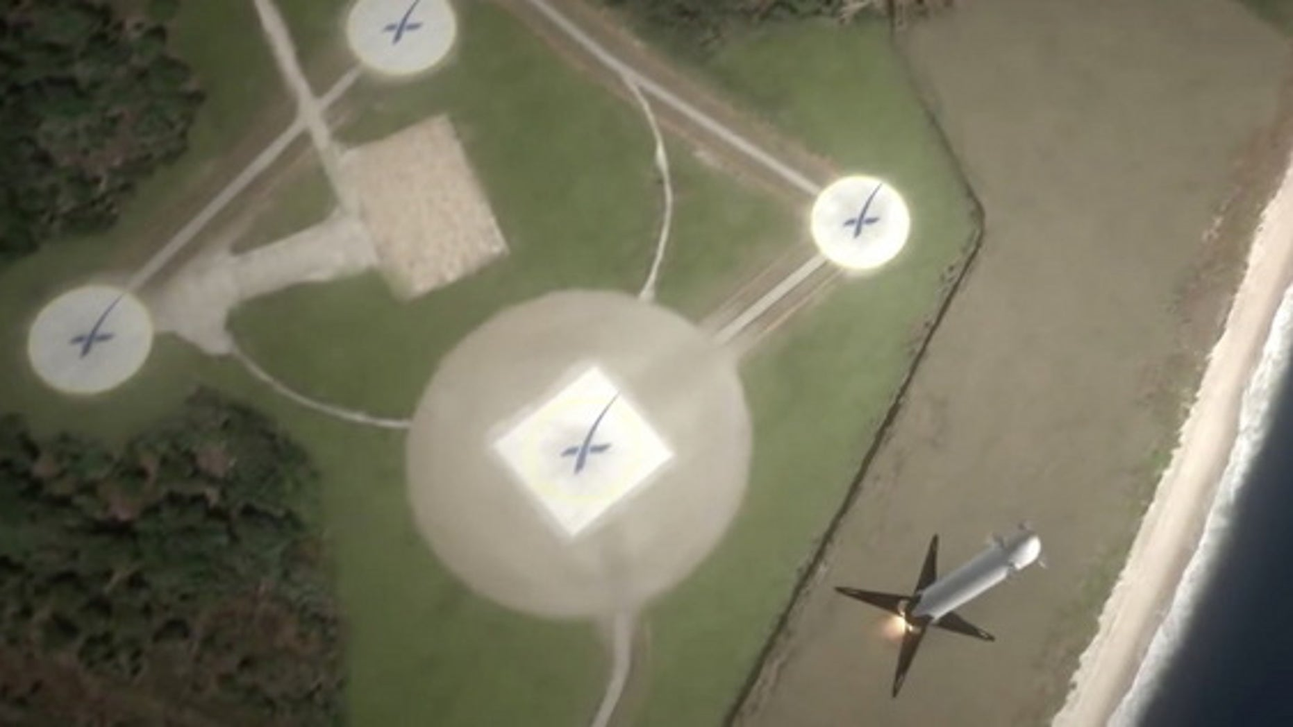 SpaceX is developing reusable Falcon 9 rockets to make spaceflight more affordable. The company plans to land the first stage of its Falcon 9 rockets (shown in this animation still) at its Landing Site 1 at the Cape Canaveral Air Force Station