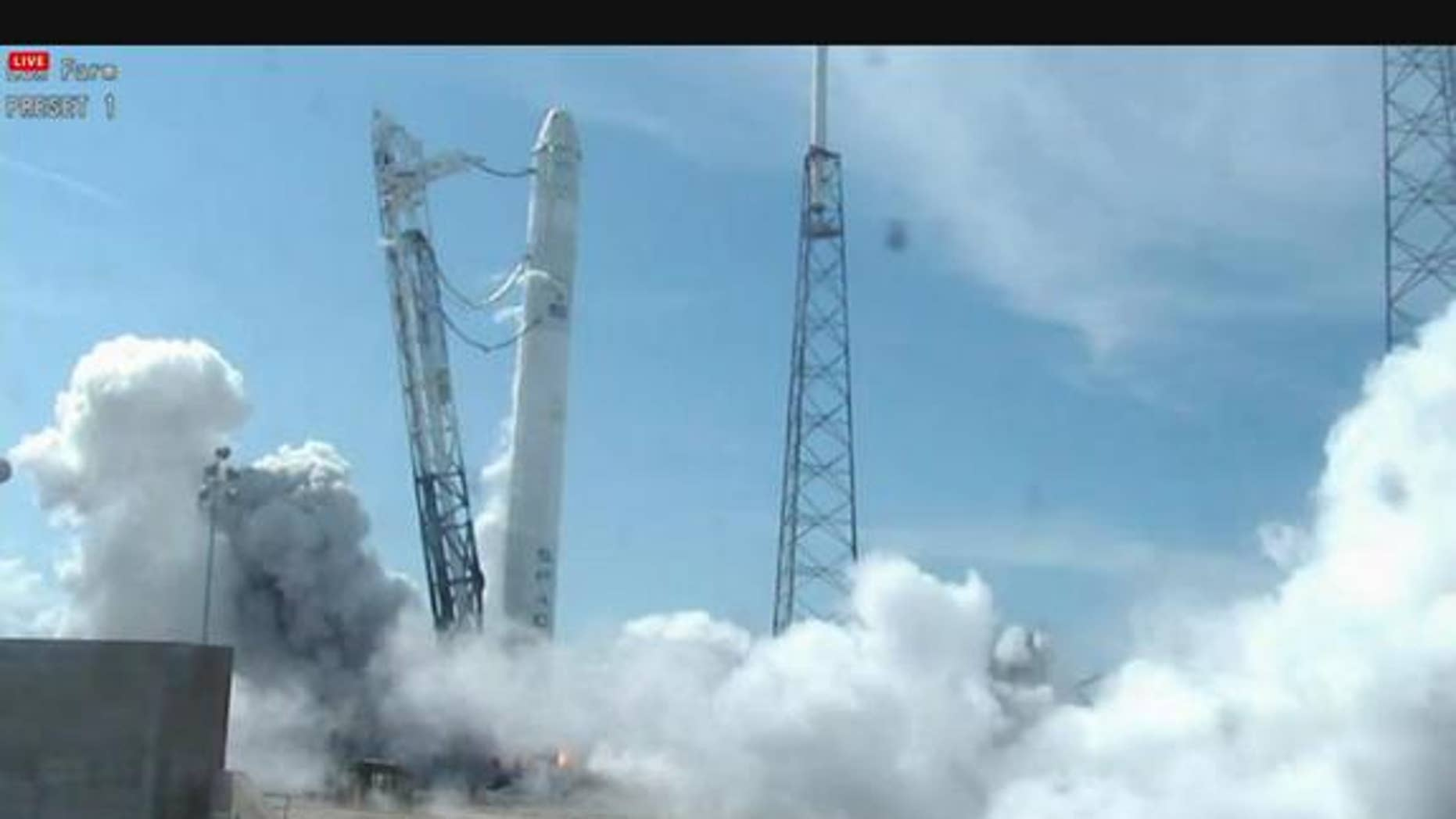 SpaceX conducted a static fire of its Falcon 9 rocket on April 30, 2012. During the test, the nine Merlin engines that power the rocket's first stage were ignited for two seconds.