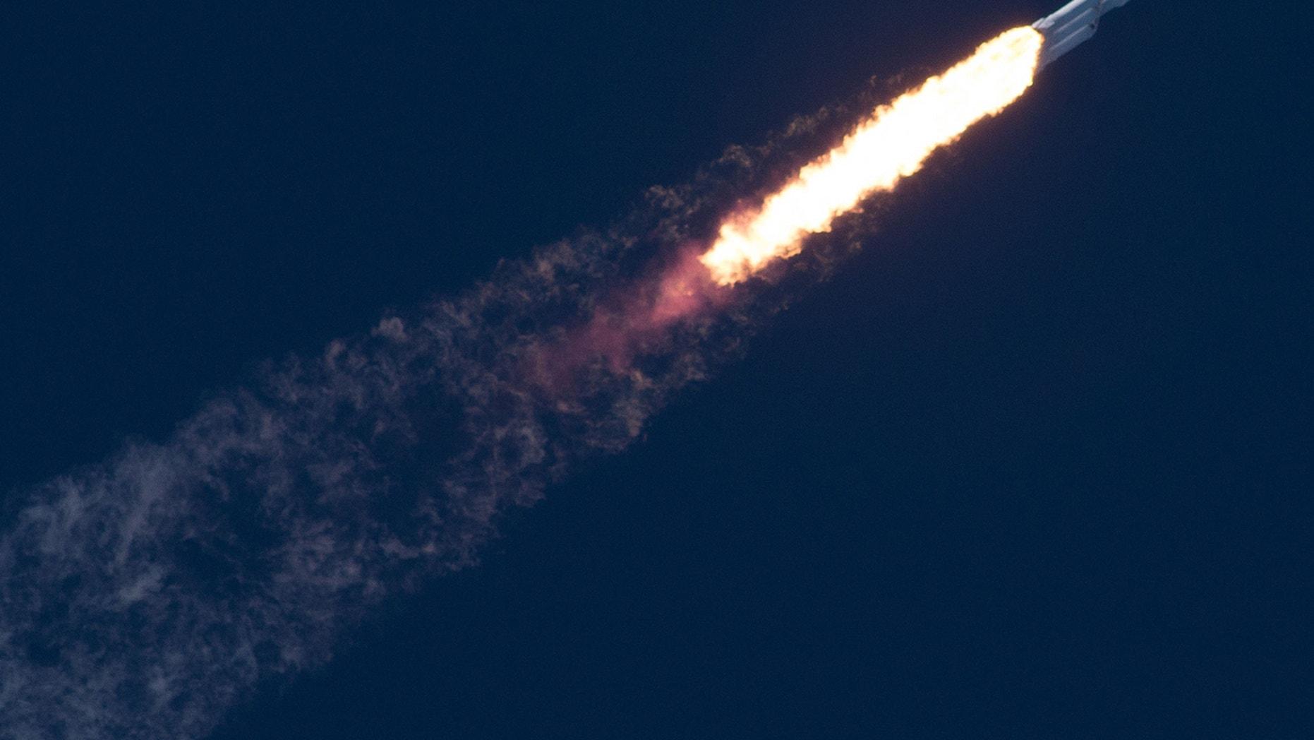 The Falcon Heavy in flight on Feb. 6, 2018.