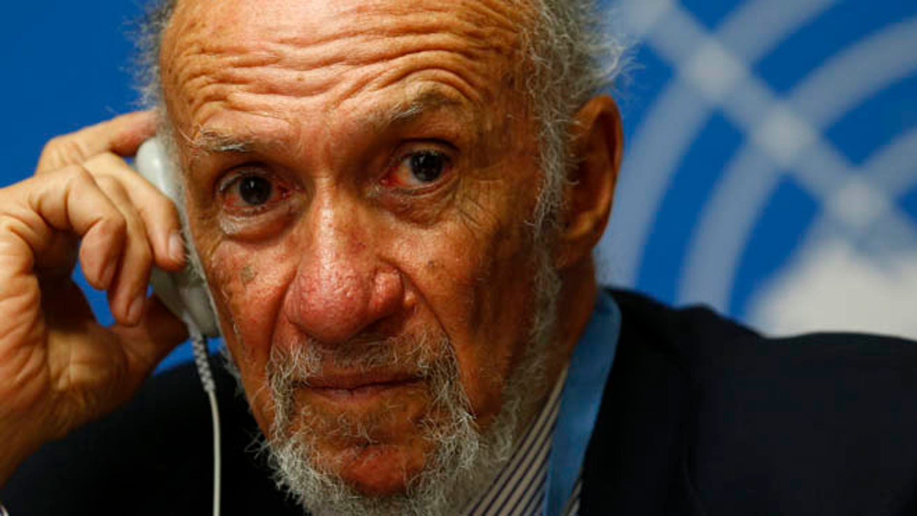 March 21, 2014: Then-United Nations investigator Richard Falk addresses a news conference in Geneva.