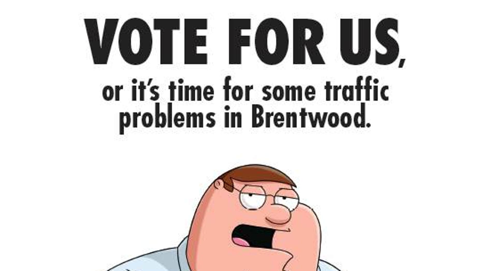 "A cartoon image from the ""Family Guy"" series that was used in a mailer lobbying for best animated program with Emmy voters. The image shows series regular Peter Griffin dressed like New Jersey Gov. Chris Christie and spoofs Christie's traffic scandal from last year."