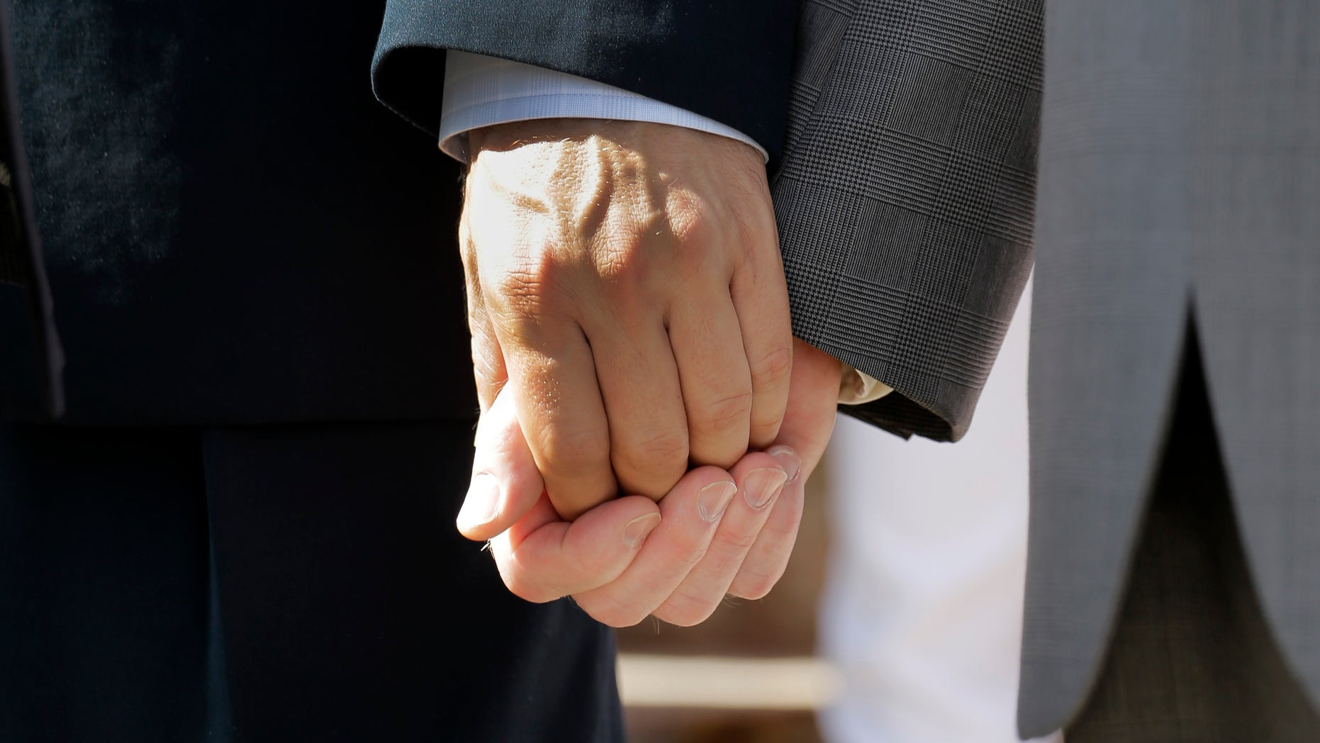 FILE - In this June 29, 2015 file photo, a gay couple holds hands during a news conference celebrating marriage equality in Austin, Texas. A government survey released on Thursday, March 17, 2016, finds growing acceptance of gay relationships, living together before marriage, and other changes in American family relationships. (AP Photo/Eric Gay, File)