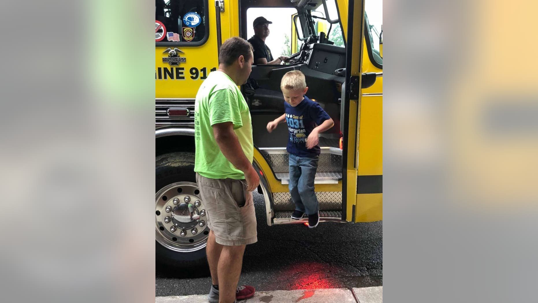Five-year-old Cooper Brooks, whose firefighter father recently died, got to ride in a fire truck to his first day of school.