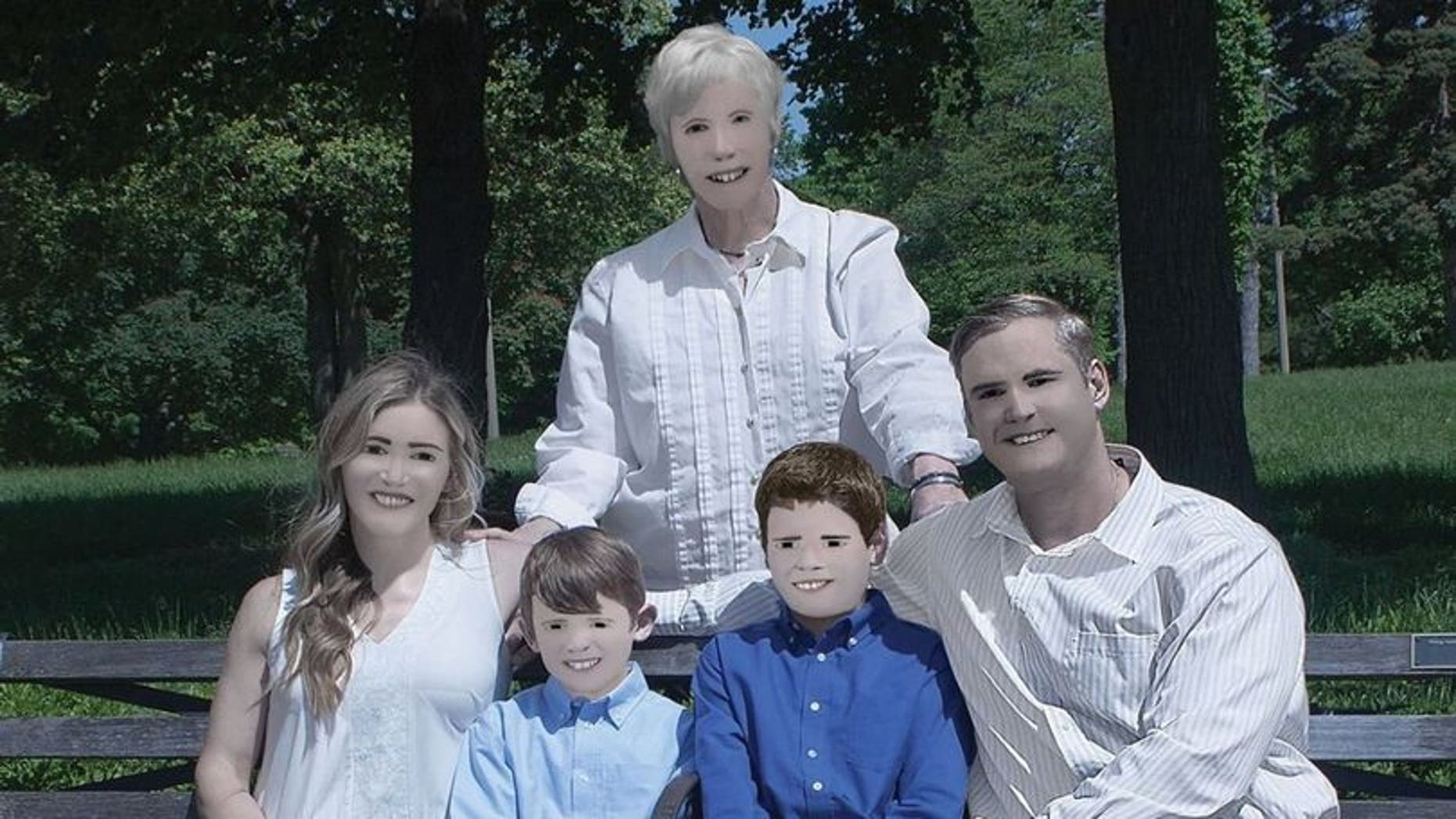 One family photo shoot is going viral after a 'professional' photographer got carried away with the airbrushing.