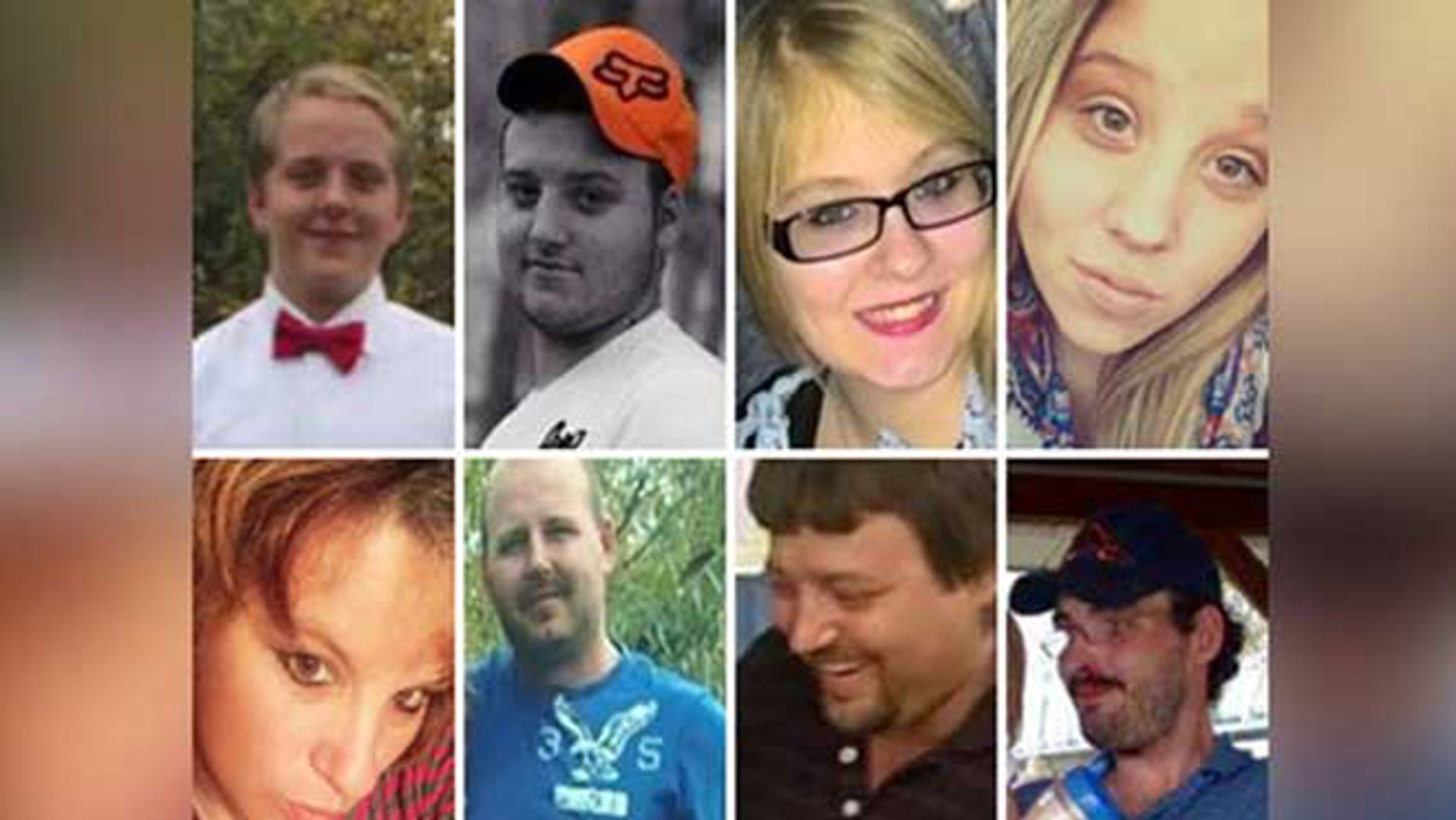 The eight Rhoden family members.