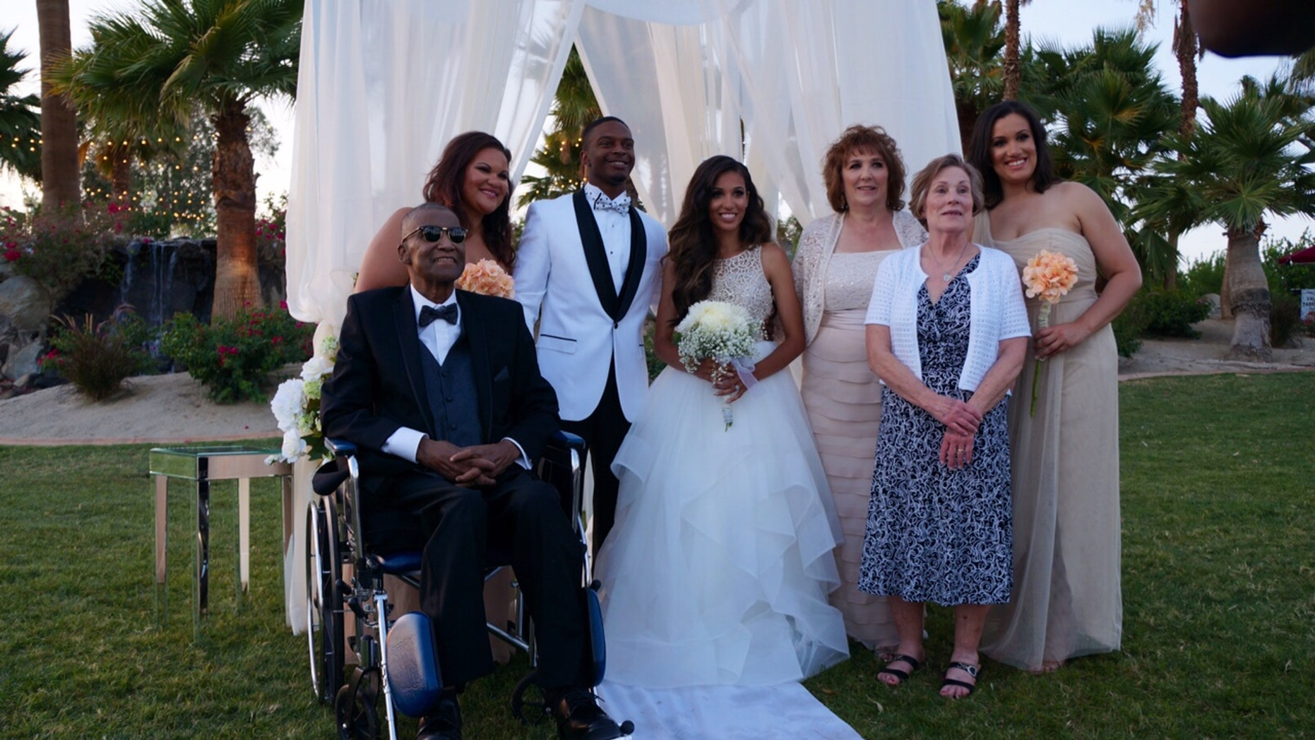 Andre Pearson surprised his daughter Alexandra at her wedding in California.