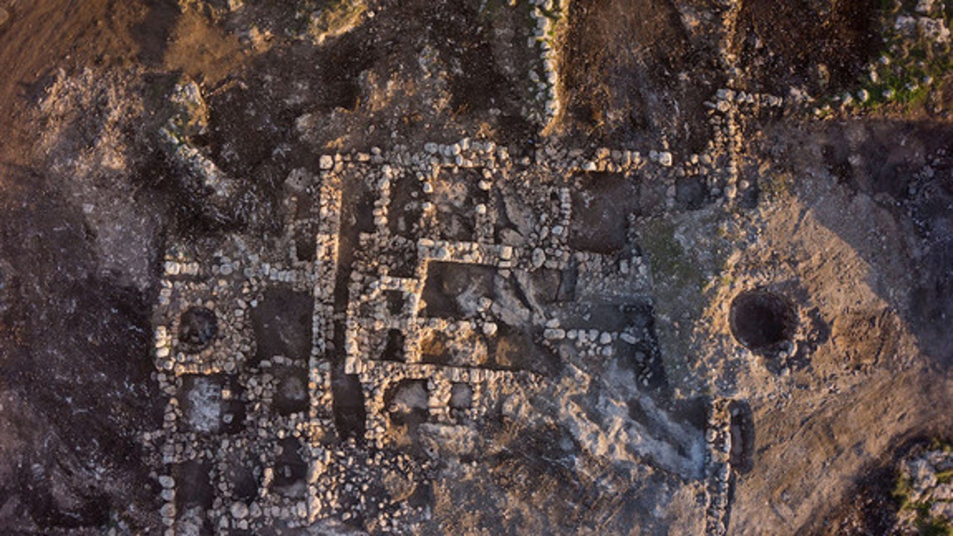 A bird's-eye view of the 23-room farmhouse from the eighth century B.C.