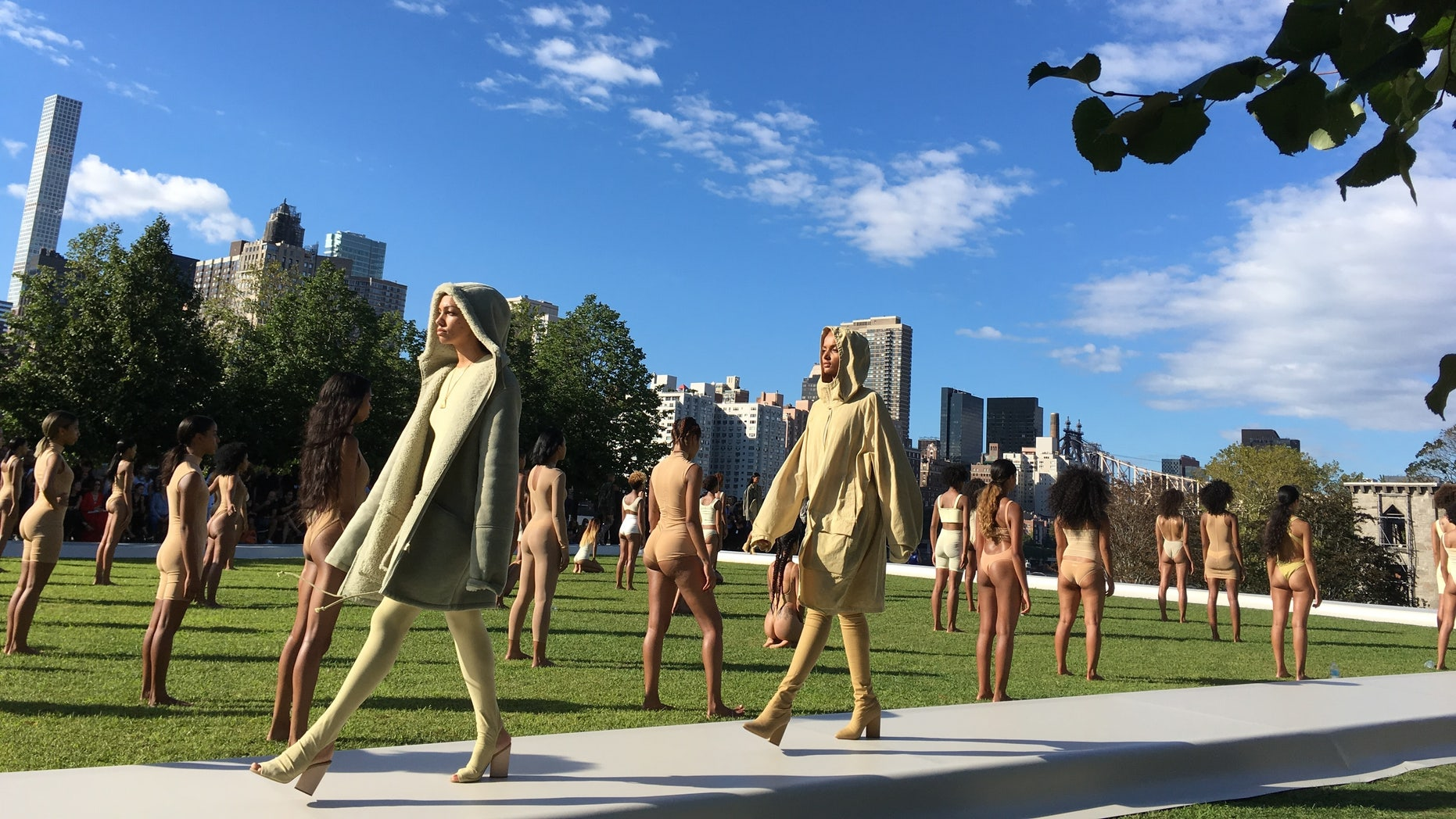 Models wear the Yeezy Season 4 collection by Kanye West during a fashion show, Wednesday, Sept. 7, 2016, at the Franklin D. Roosevelt Four Freedoms Park on Roosevelt Island in New York.