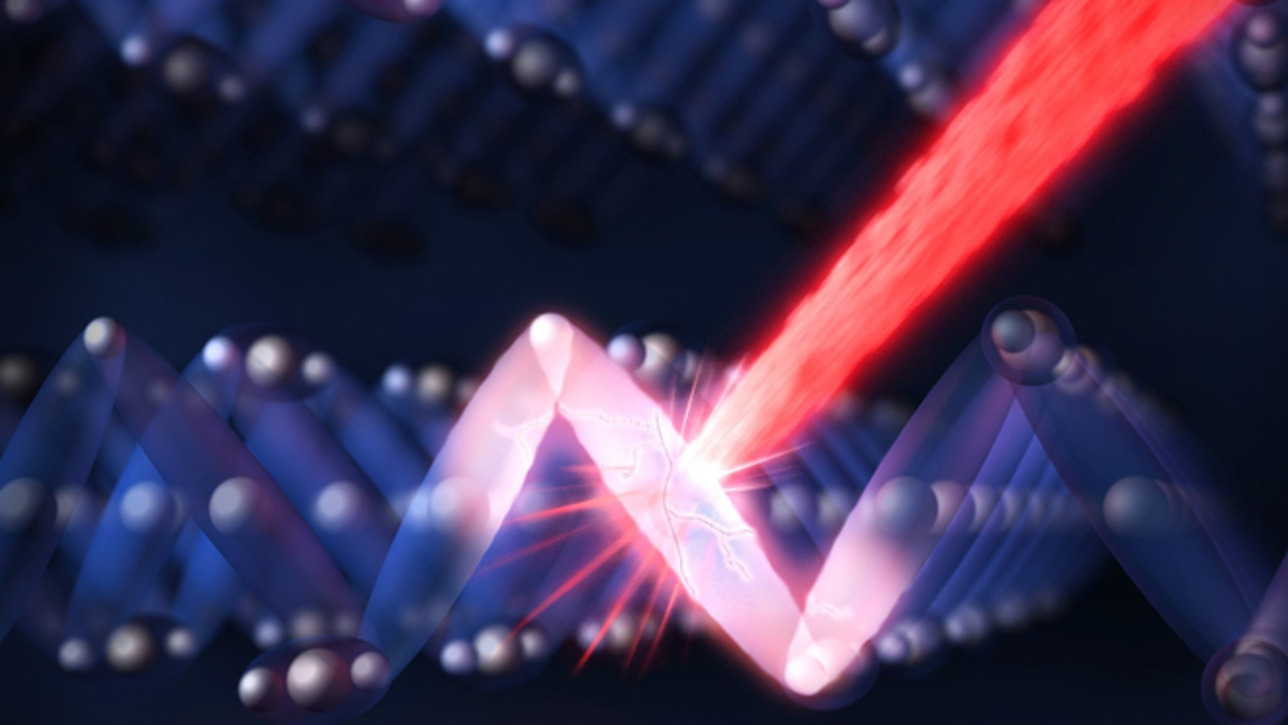 An optical laser pulse (the red streak) shatters the ordered electronic structure (blue) in an insulating sample of magnetite, switching the material to electrically conducting (red) in one trillionth of a second.