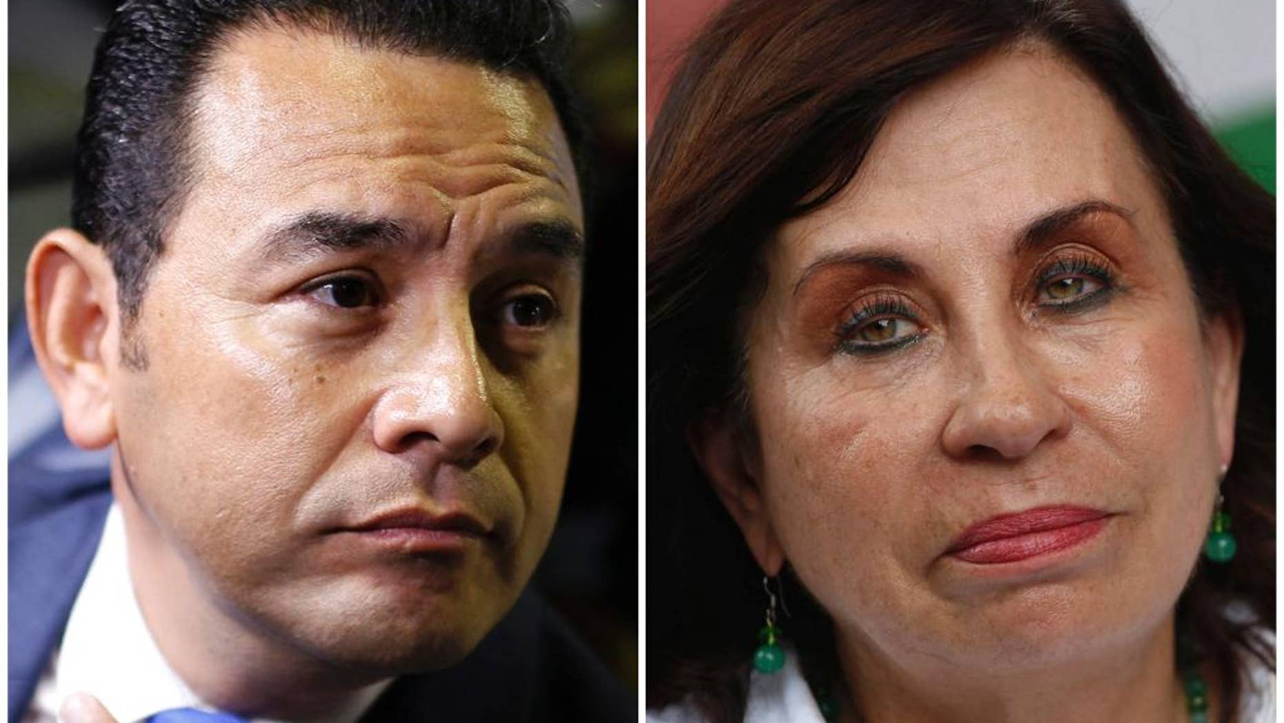 FILE - This combination of two file photos shows, at left, presidential frontrunner candidate Jimmy Morales, of the National Front of Convergence party, at a Sept. 7, 2015 press conference in Guatemala City, and Sandra Torres, National Unity of Hope presidential candidate, at an Aug. 29, 2015 campaign rally in Escuintla, Guatemala. The country's electoral tribunal has declared on Tuesday, Sept. 16, 2015, that Morales a former television comedian and Torres a former first lady are the top two finishers in the Sept. 6 presidential vote. The two will compete in the Oct. 25 runoff to be the next president of Guatemala. (AP Photo/Luis Soto, File)