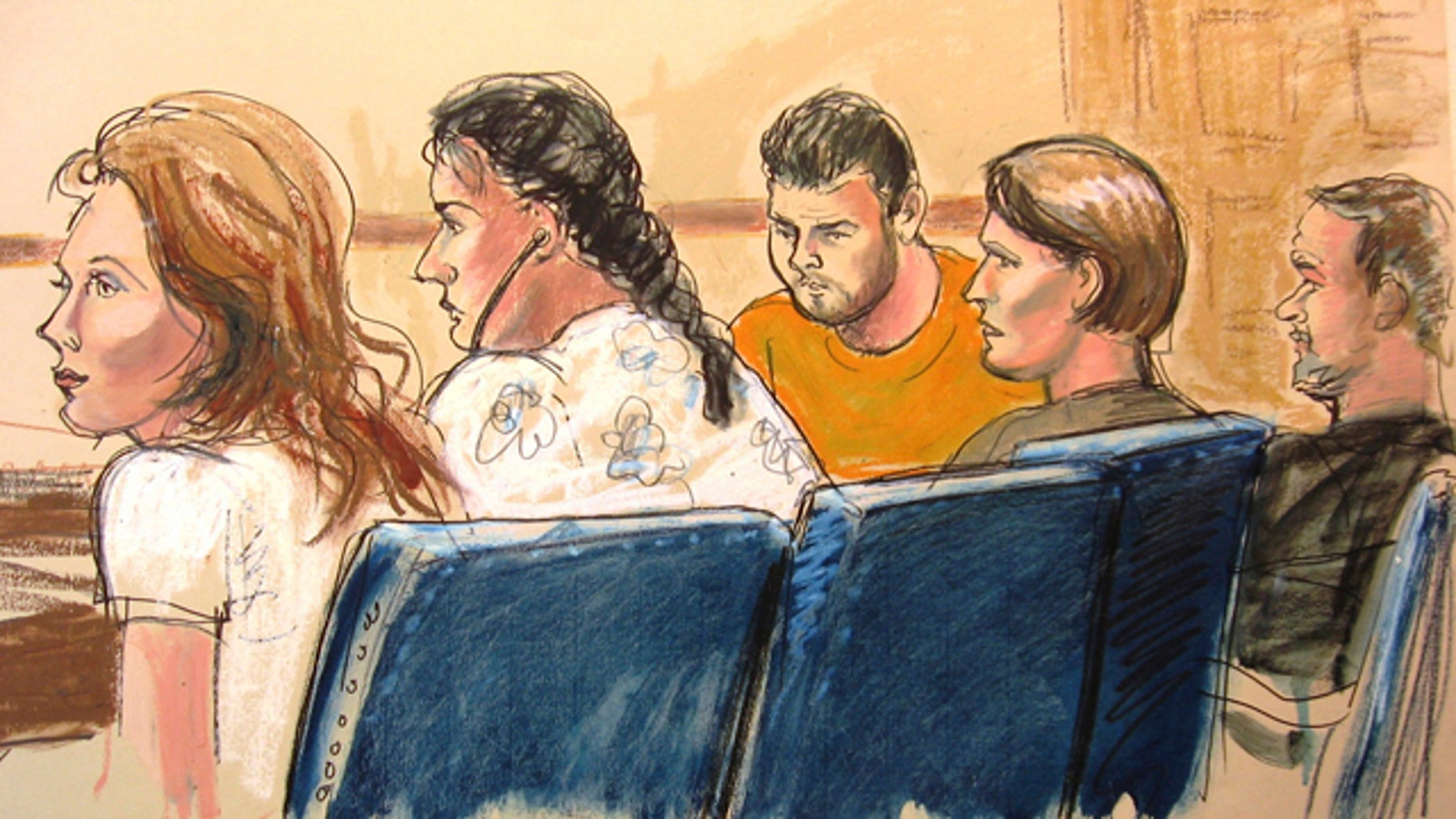 """June 28: A courtroom sketch shows, from left, Anna Chapman, Vicky Pelaez, the defendant known as """"Richard Murphy"""", the defendant known as """"Cynthia Murphy"""" and the defendant known as """"Juan Lazaro"""" in a federal court in New York City."""