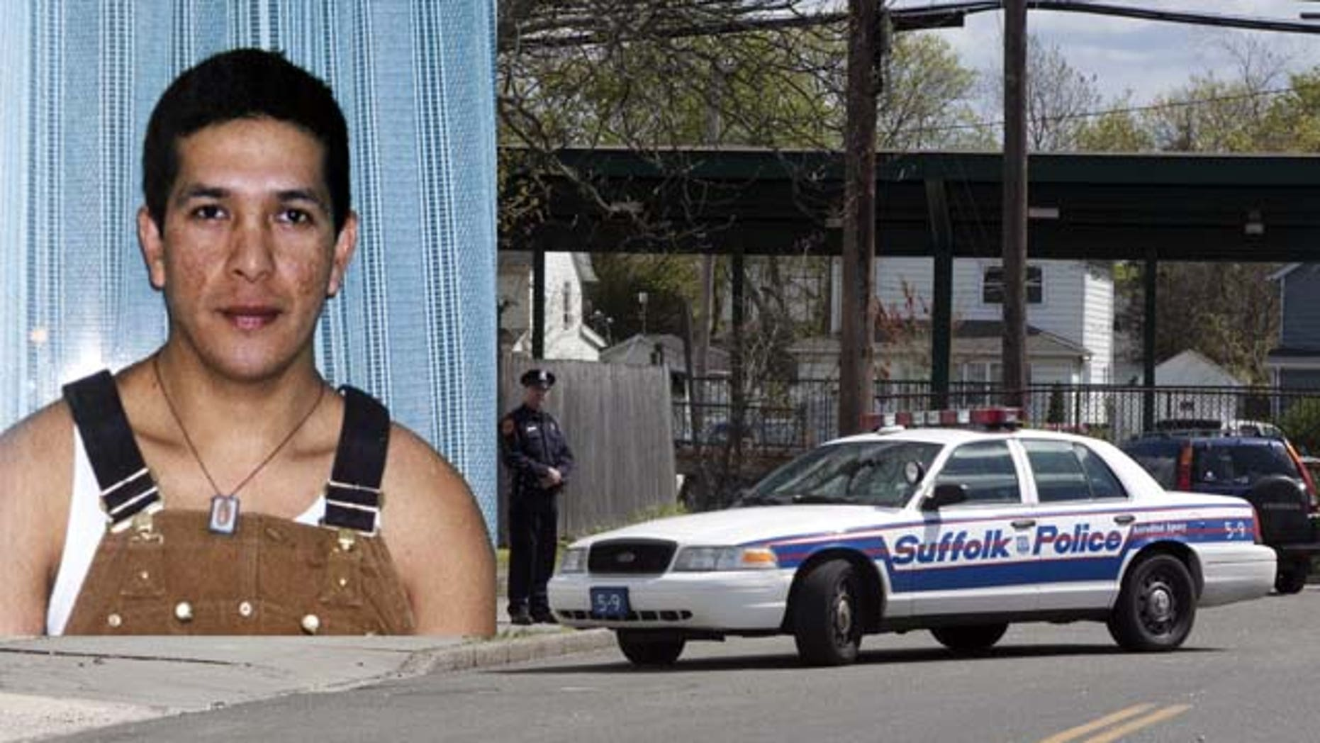 EEUU-JUSTICIA:SHM09 - PATCHOGUE (NY, EEUU), 19/04/2010.- Agentes de la policía del condado de Suffolk vigilan hoy, lunes 19 de abril de 2010, el lugar donde fue asesinado el inmigrante ecuatoriano Marcelo Lucero hace un año y medio en la localidad de Patchogue, NY (EEUU), para evitar que haya altercados después de que un jurado popular hallara culpable de homicidio a Jeffrey Conroy, único acusado por la muerte. Siete jóvenes, entre ellos Conroy, fueron arrestados en relación con la muerte de Lucero, que el pasado lunes hubiese cumplido 39 años, pero sólo al citado, de 19 años, se le abrieron cargos por el asesinato. EFE/Miguel Rajmil  (Newscom TagID: efespfive570370) [Photo via Newscom]