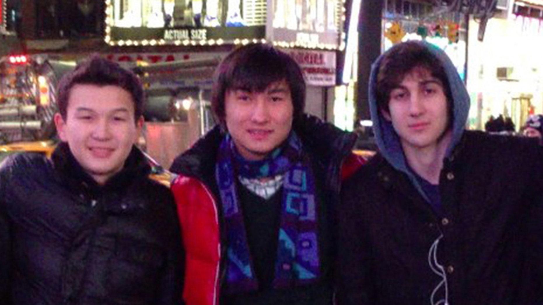 Azamat Tazhayakov, left, Kadyrbayev, center, and Dzhokhar Tsarnaev are seen in this undated photo. Tazhavakov was convicted of obstructing justice in the bombing investigation.