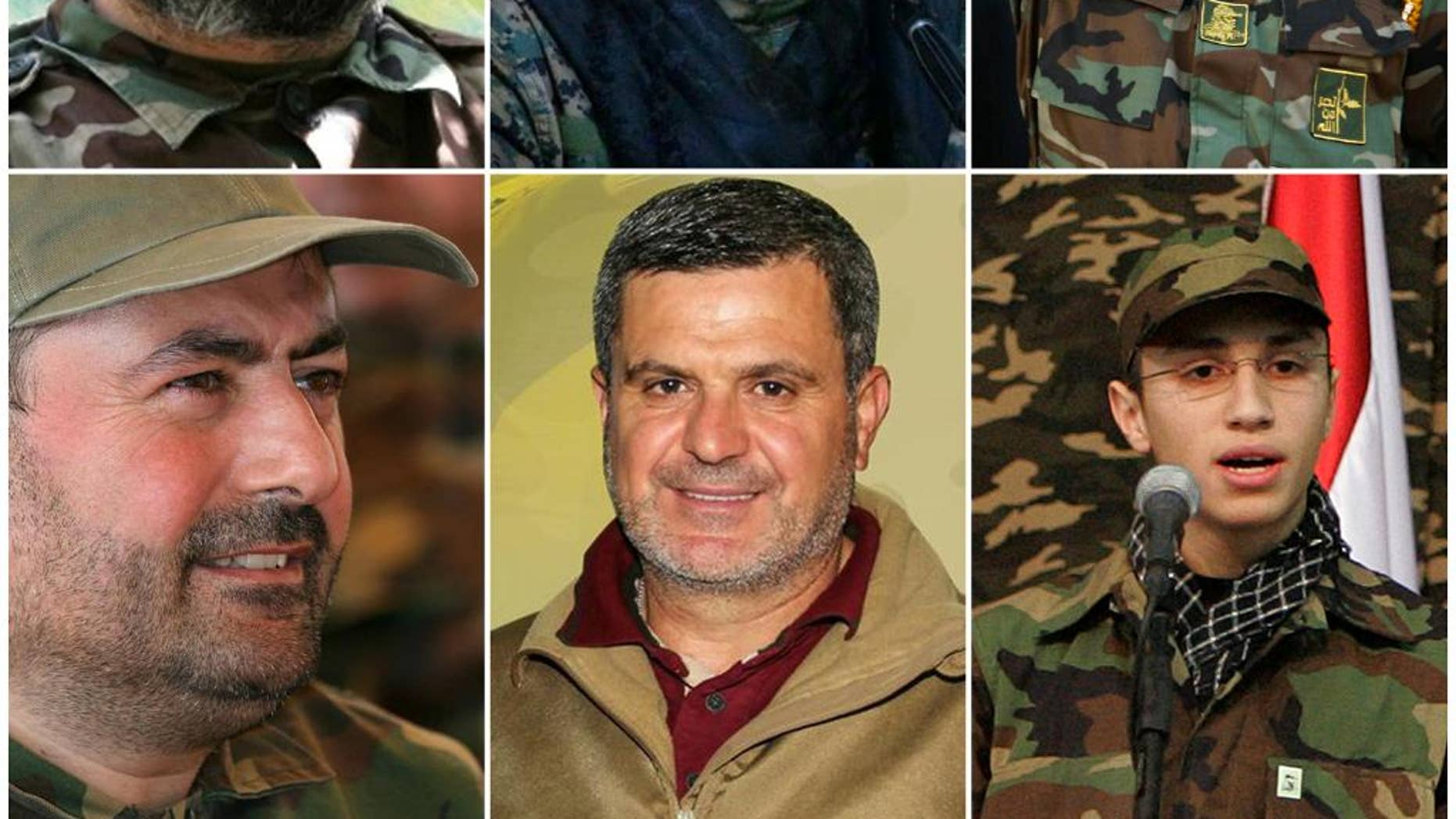 COMBO - this combo made up of six images shows Hezbollah top commanders who were killed in Syria, top row from left, Imad Mughniyeh, Mustafa Badreddine and Samir Kantar, at bottom row from left are Hassan Hussein al-Haj, Ali Fayyadh and Jihad Mughniyeh. Since Hezbollah joined Syria's civil war in 2012 to support President Bashar Assad, it has lost several prominent members in combat and has gained a broader range of enemies. (Hezbollah Media Department via AP)