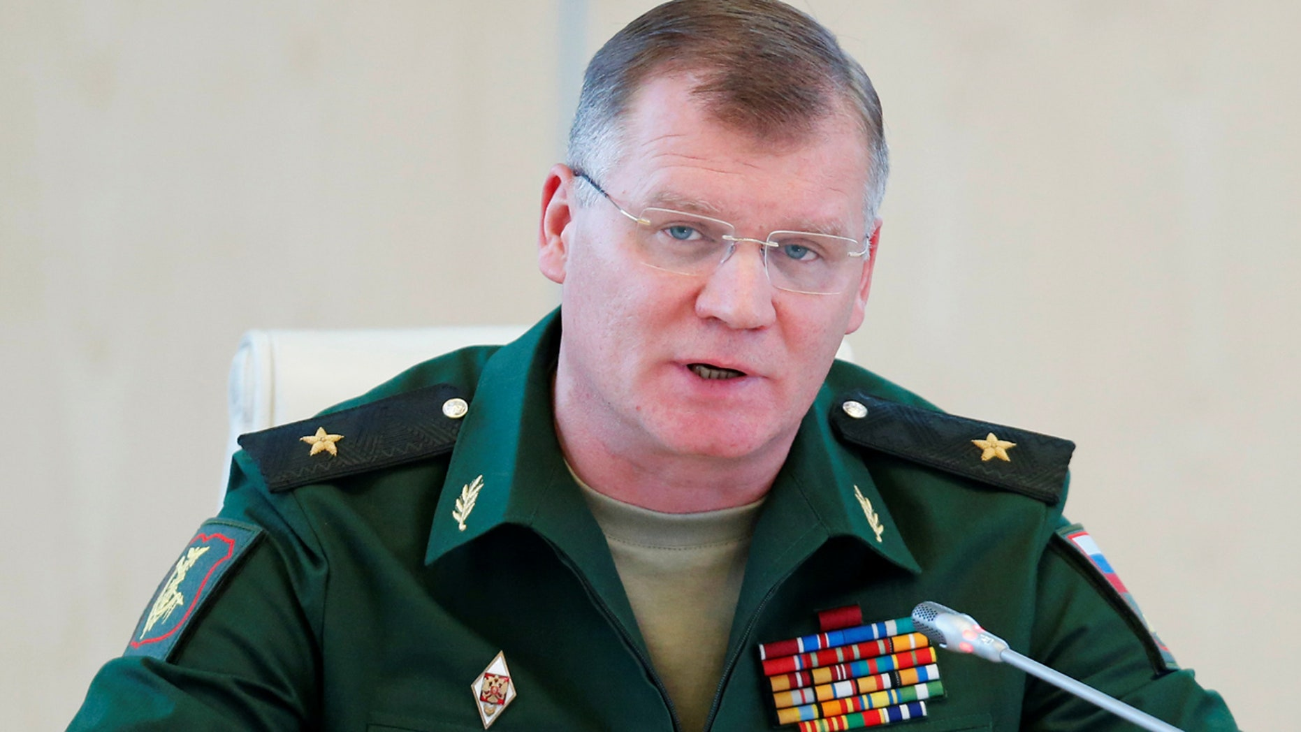 Spokesman for the Russian Defense Ministry, Major-General Igor Konashenkov, during a recent news conference.