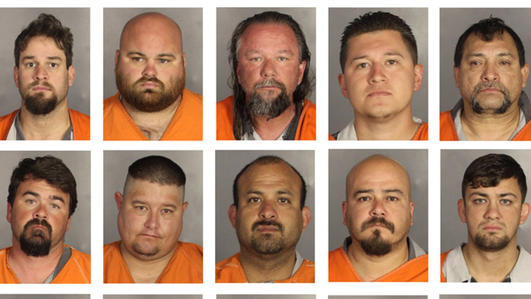 This combination of booking photos provided by the McLennan County Sheriff's office shows people arrested during the motorcycle gang related shooting at the Twin Peaks restaurant in Waco, Texas, Sunday, May 17, 2015. Top row from left to right: William English, Nate Farish, Don Fowler, Justin Garcia and Lawrence Garcia. Bottom row, left to right: Lance Geneva, Nathan Grindstaff, Valdemar Guajardo, John Guerrero and Bryan Harper. (McLennan County Sheriff's Office via AP)