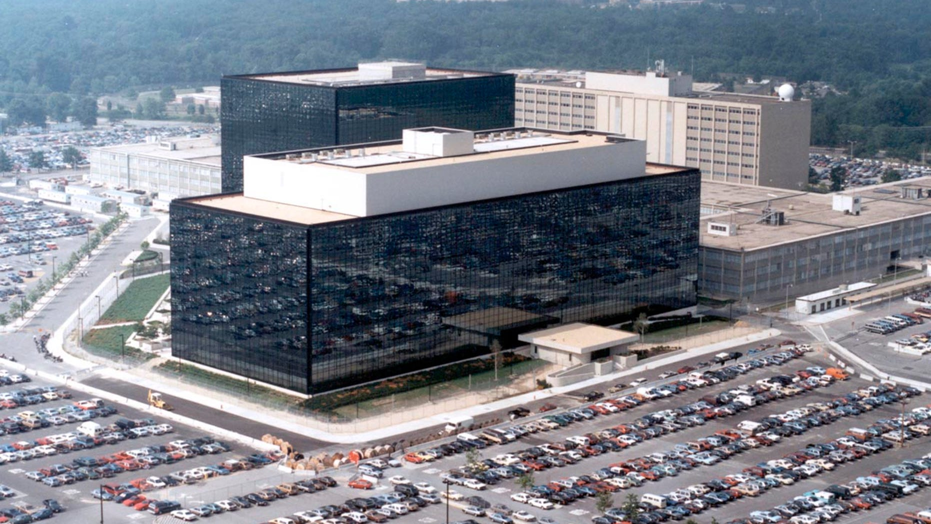 An undated aerial handout photo shows the National Security Agency headquarters building in Fort Meade, Maryland.